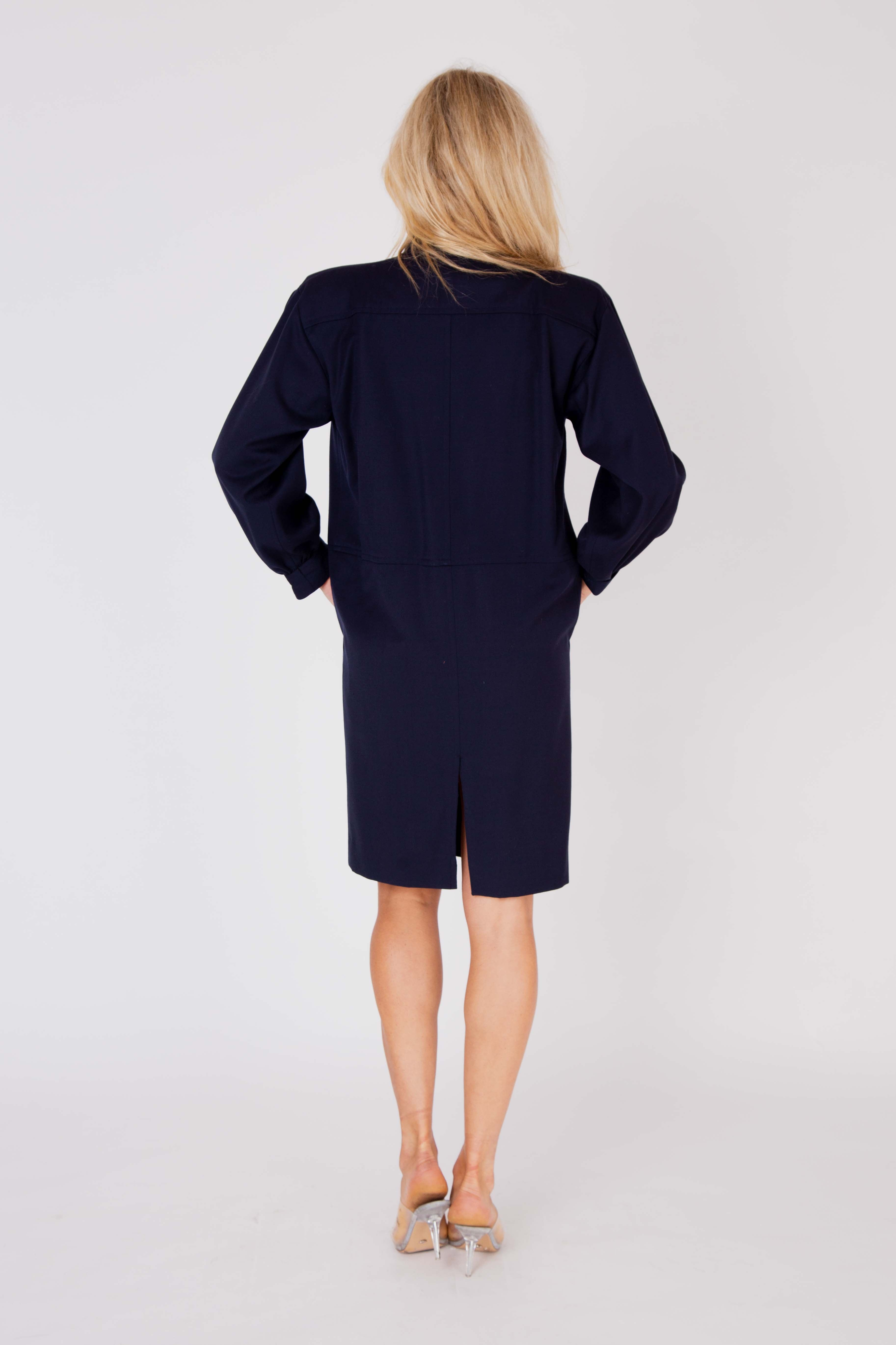 Yves Saint Laurent <br> 1980's wool strong shoulder tunic dress
