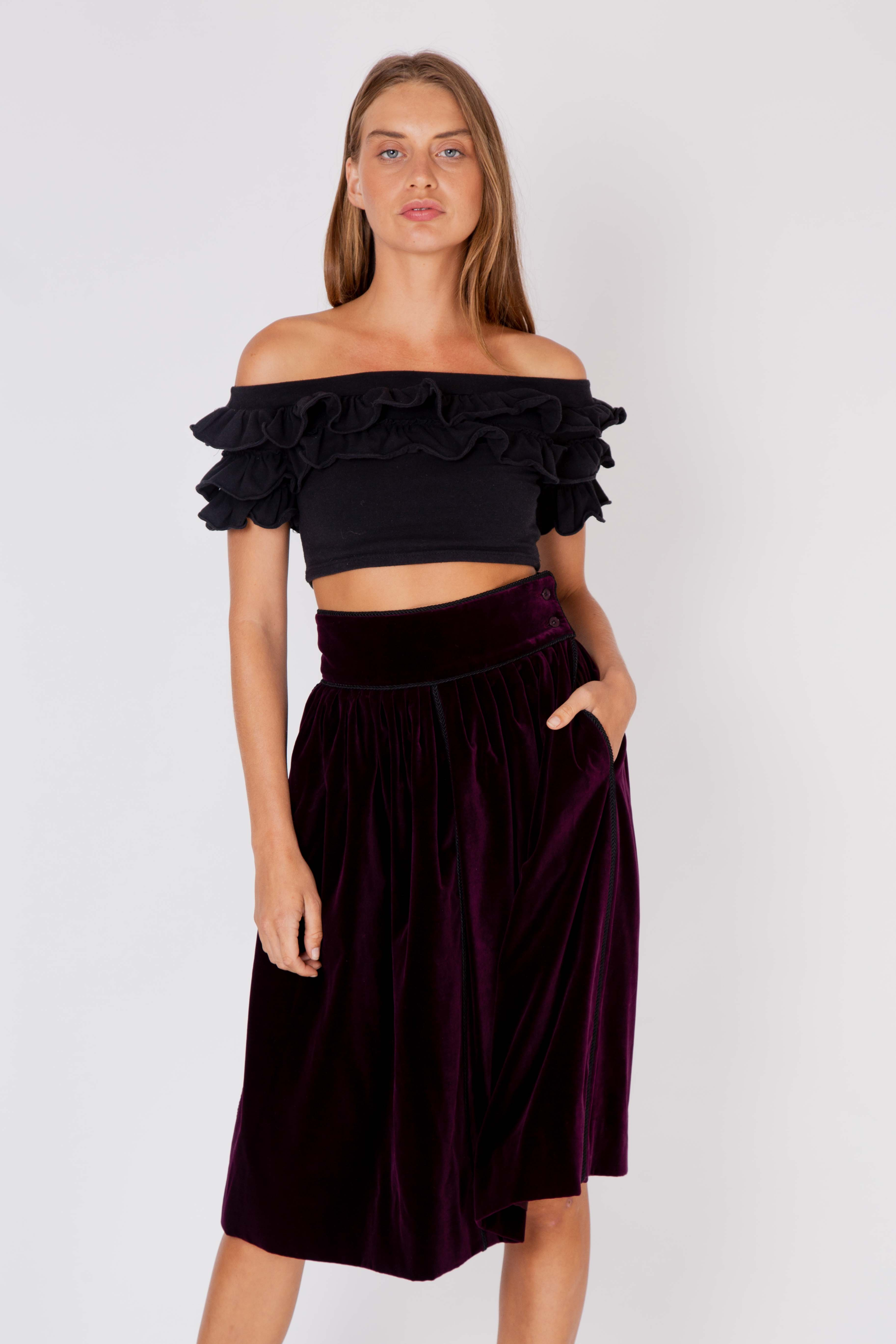 Yves Saint Laurent <br> 1977 Ballet Russes velvet skirt with corded silk trim