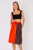 Yves Saint Laurent <br> 1970's red and brown colourblock skirt