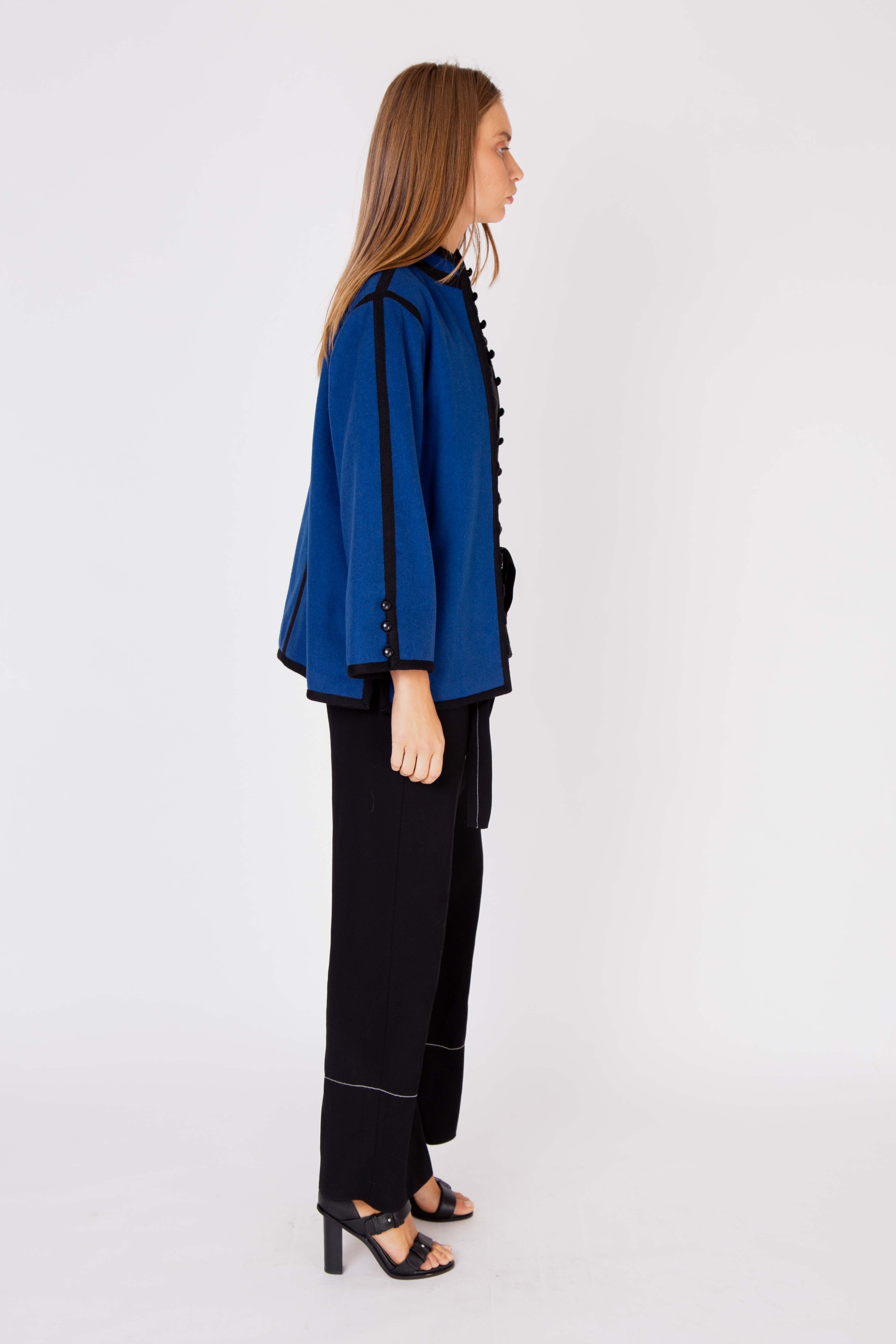 Yves Saint Laurent<br>1976 blue wool collarless jacket