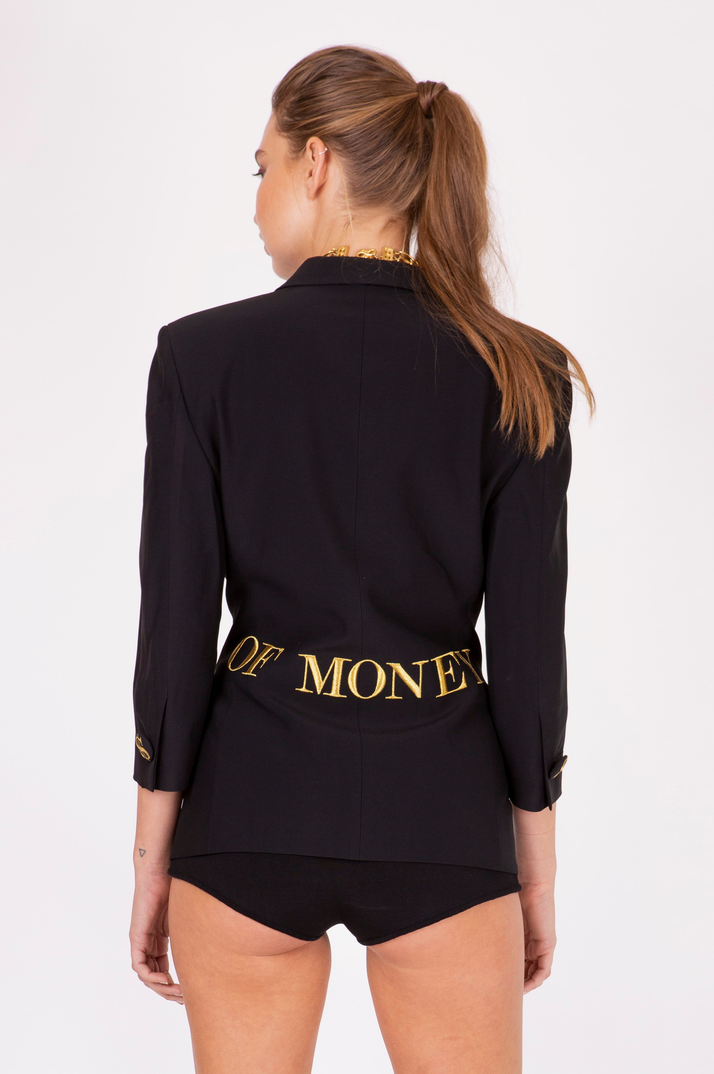 Moschino <br> 1991 'Waist of Money' Couture black blazer jacket