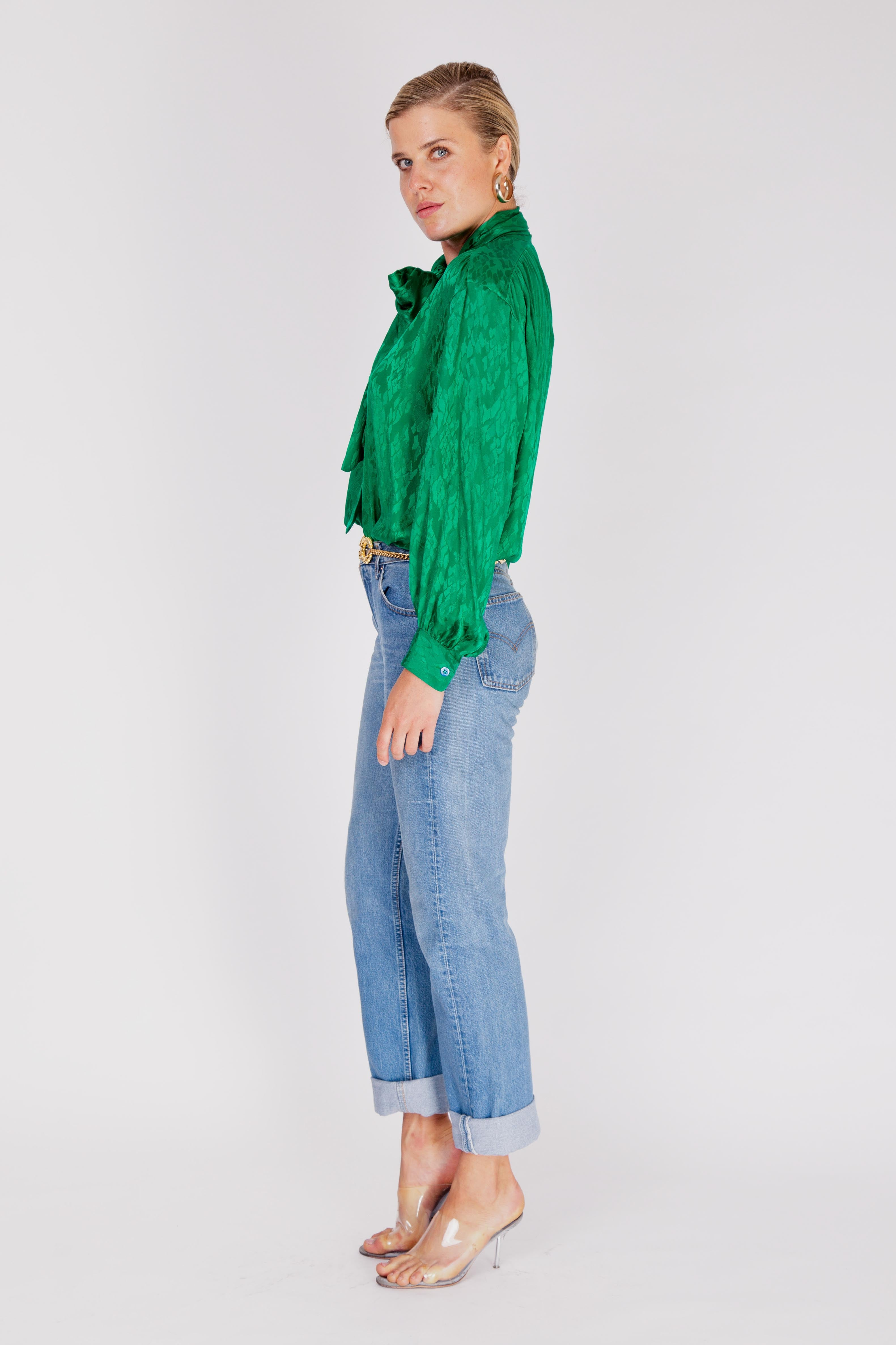 Yves Saint Laurent <br> 1980's emerald green silk pussy bow blouse