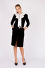 Lanvin <br> 70's black velvet dress with big silk bow