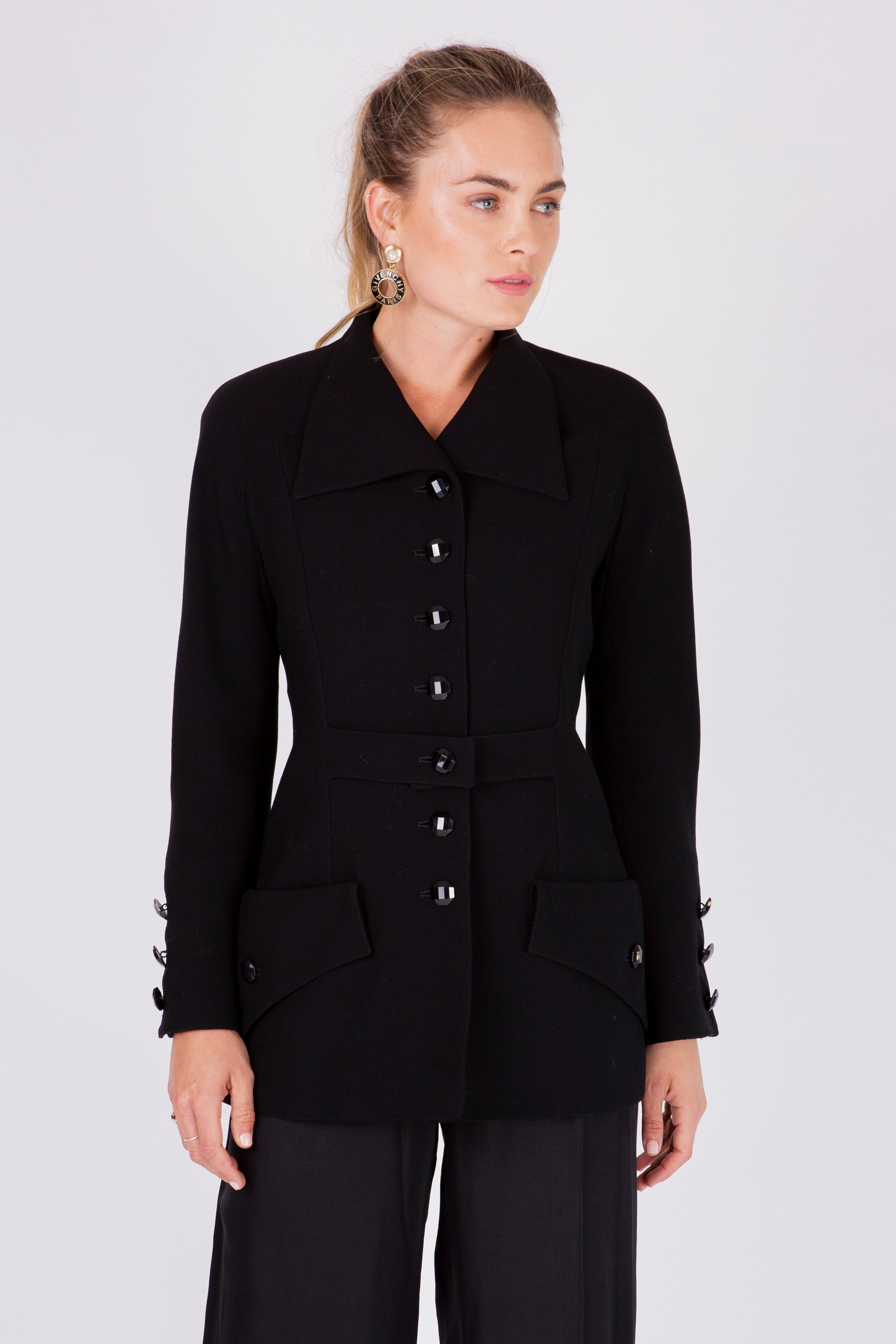 Valentino <br> Boutique long line jacket with statement buttons