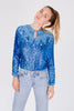 Vintage<br>70's electric blue Italian silk top with sequins & beading