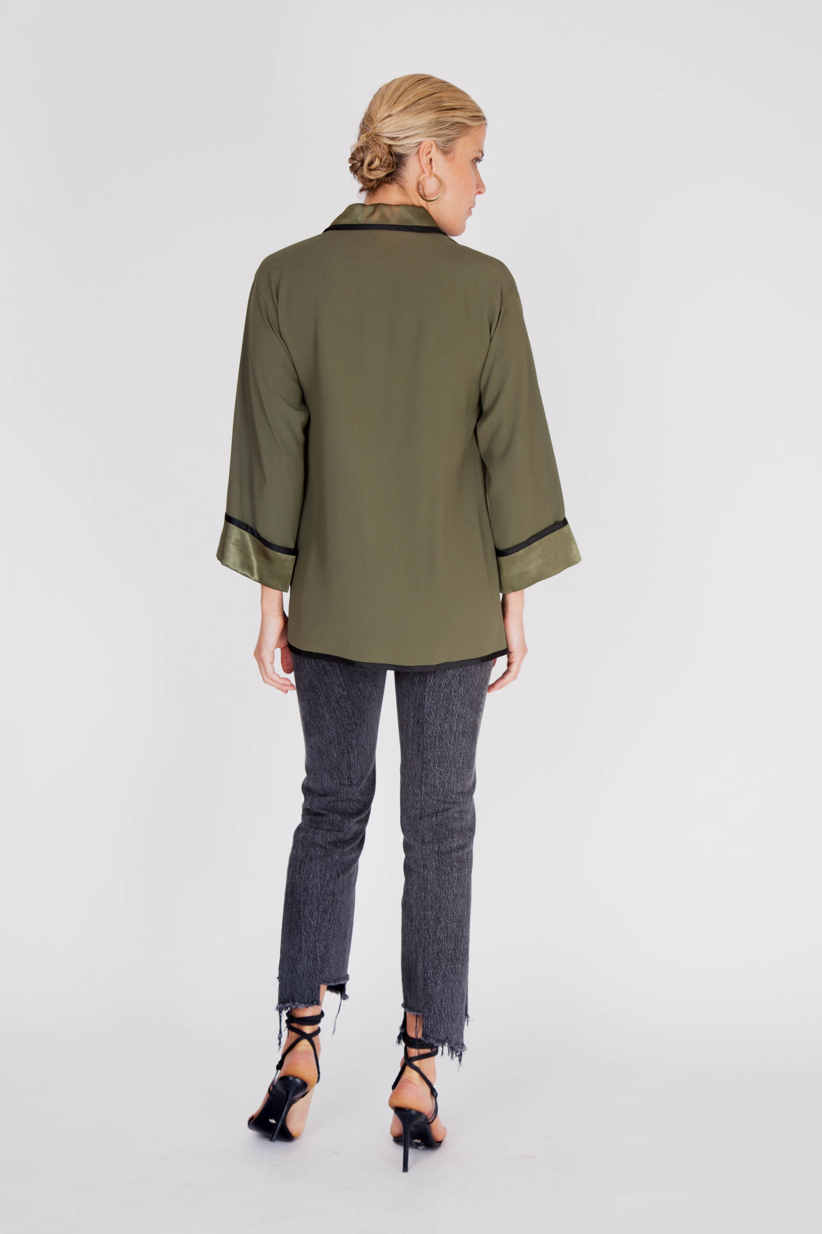 Yves Saint Laurent <br> 1970's YSL olive green button down tunic