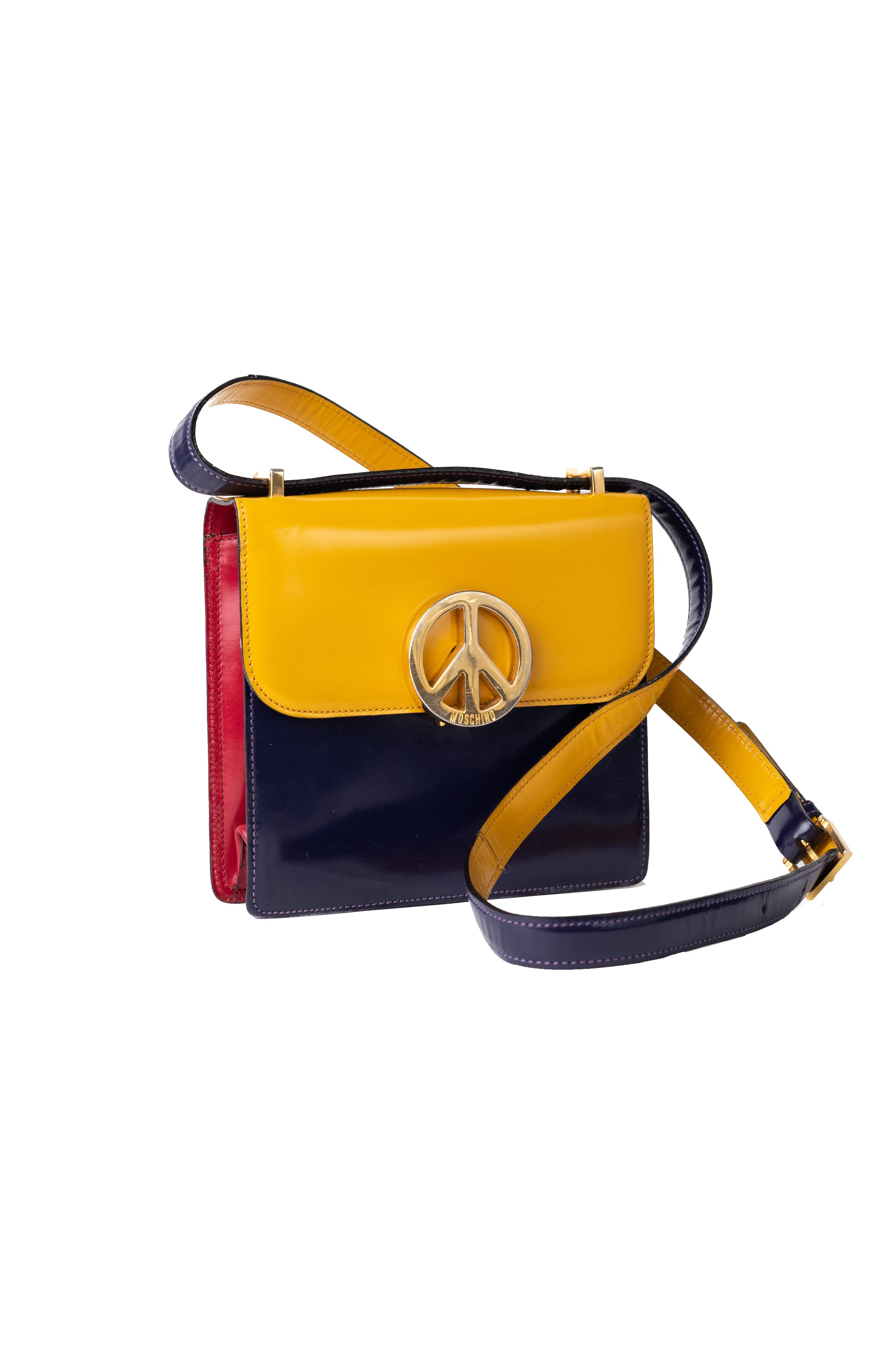 Moschino <br> 90's Moschino by Redwall triple tone Peace sign handbag