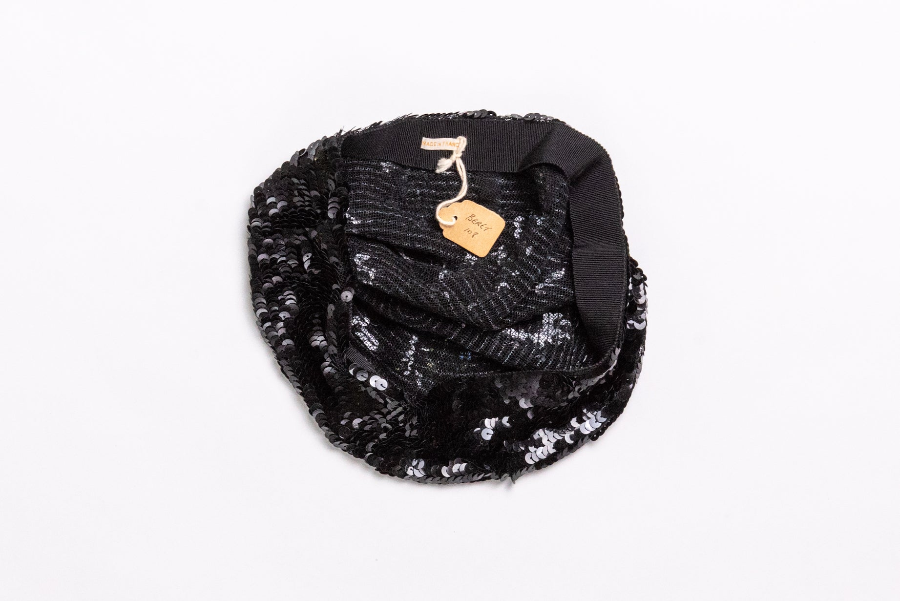 Vintage <br> Early 20th century French black sequin beret