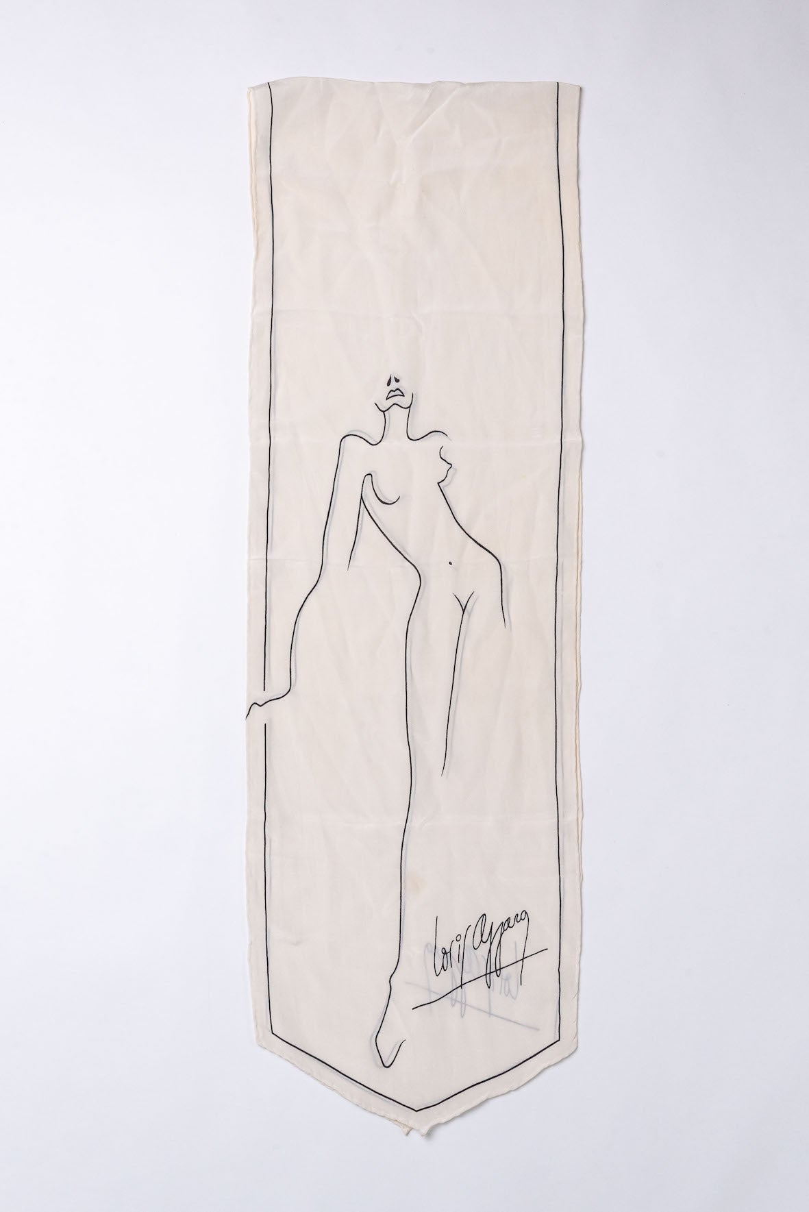 Azzaro <br> 70's silk line drawing scarf