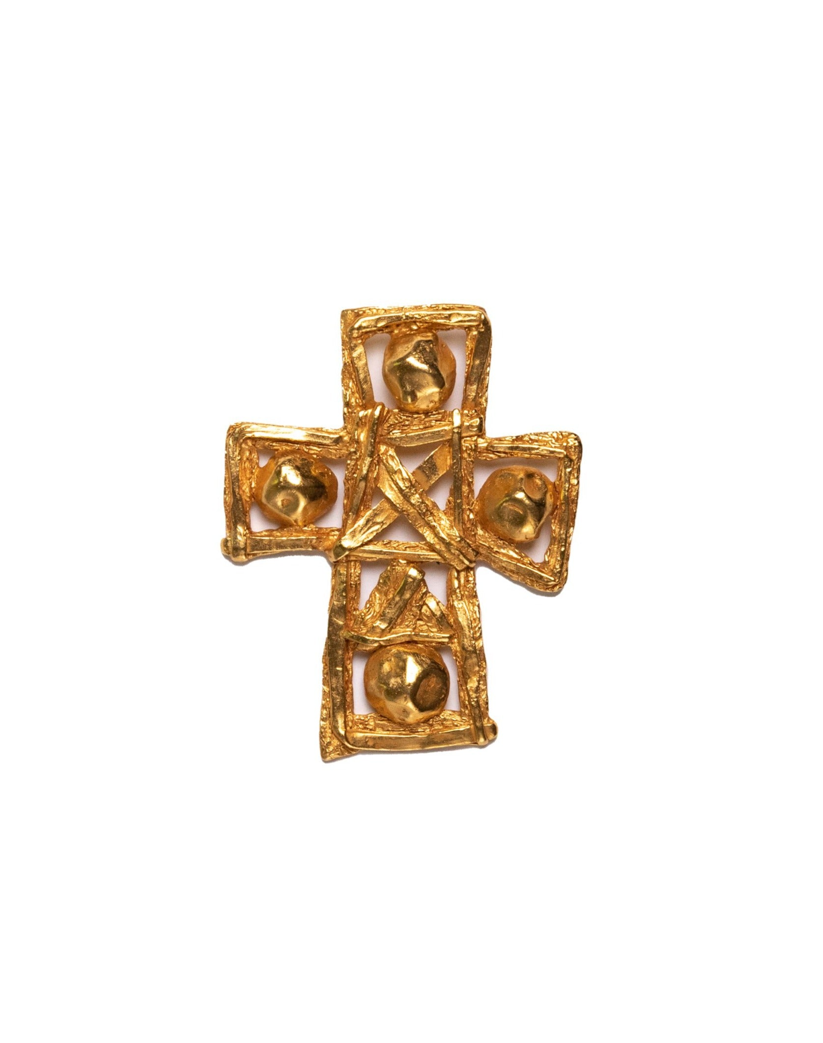 Christian Lacroix <br> 1994 huge sculptural gold cross pendant