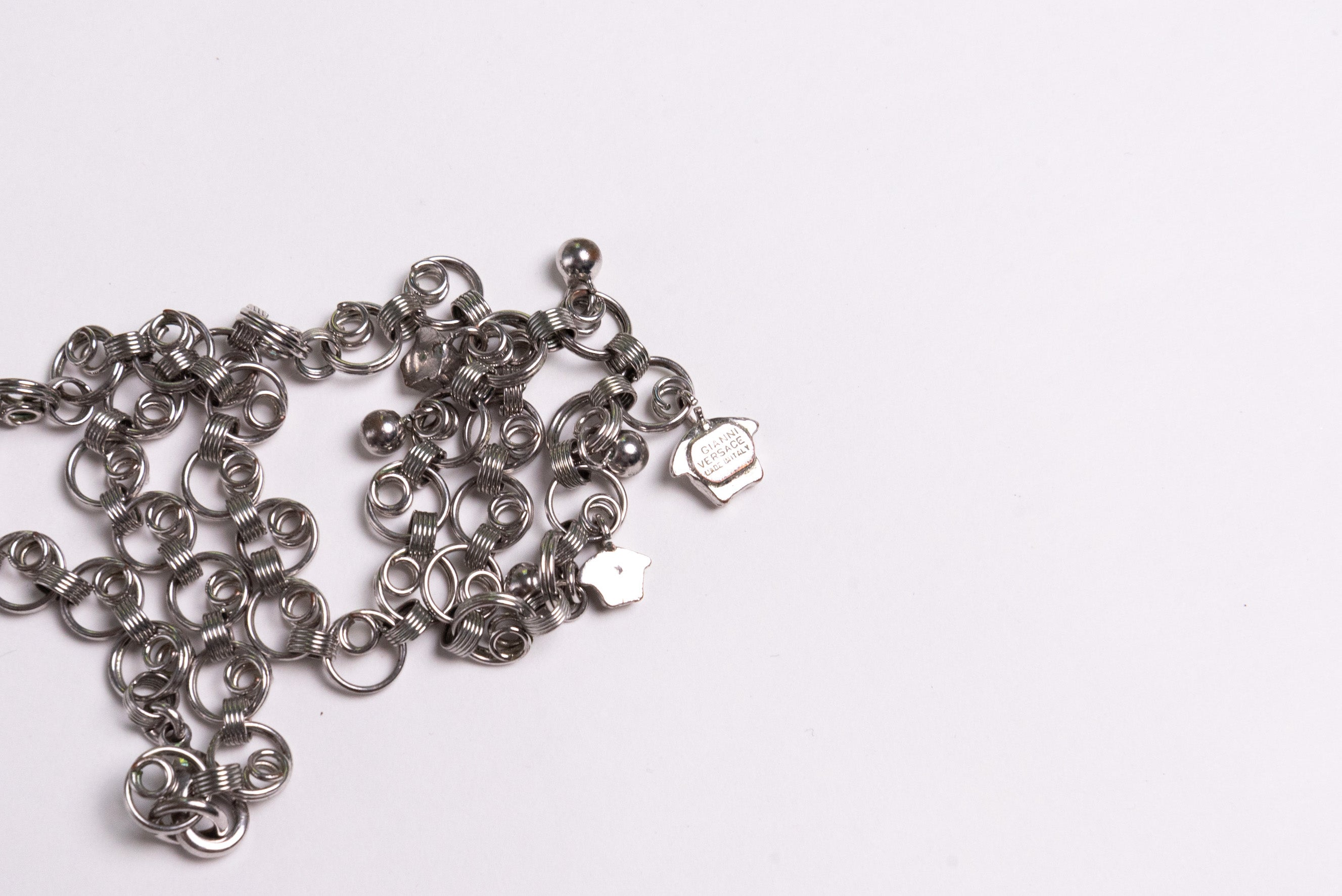 Gianni Versace <br> 1990's silver choker necklace with dangling Medusa heads
