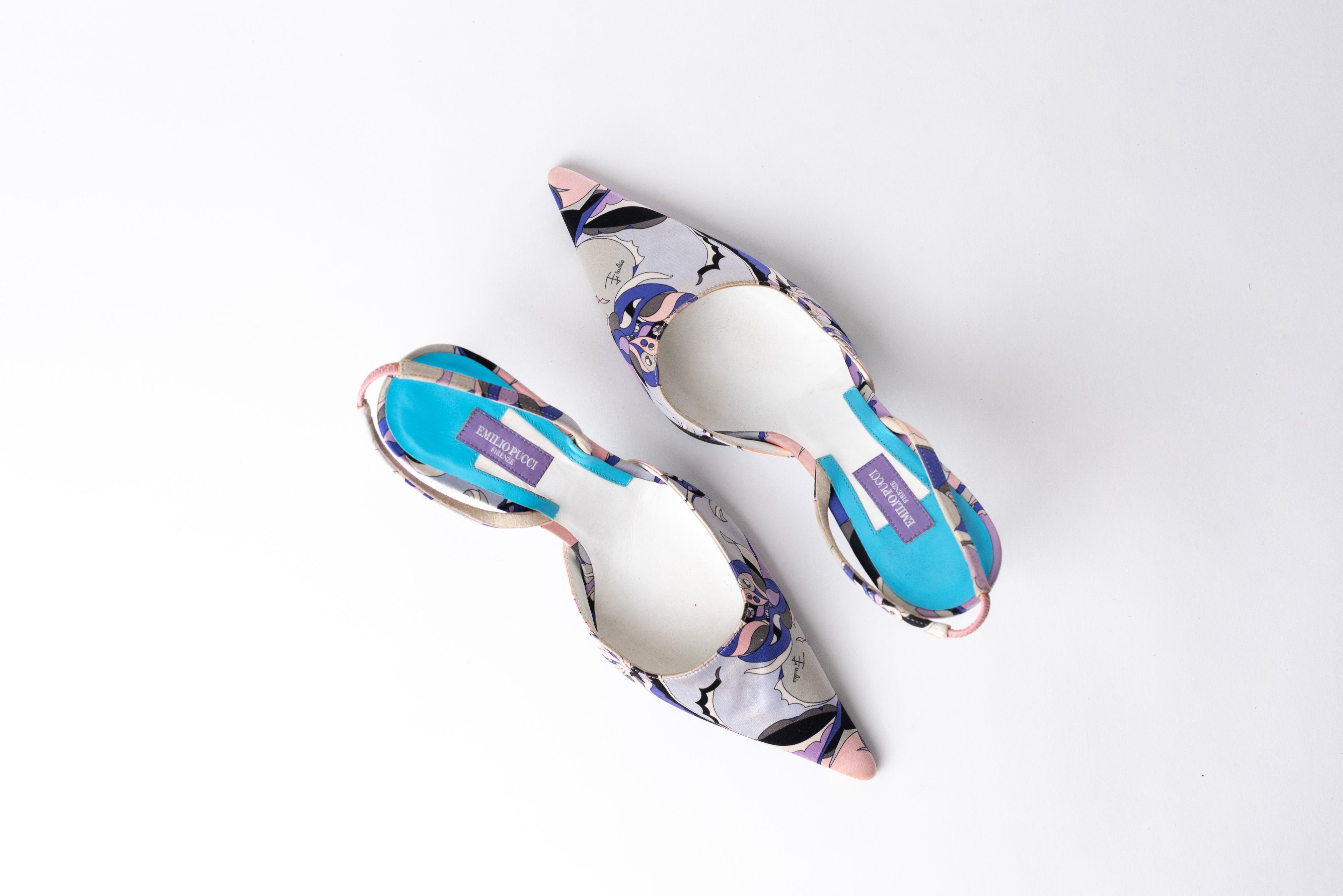 Emilio Pucci <br> Printed satin pointed toe sling backs with chrome heels