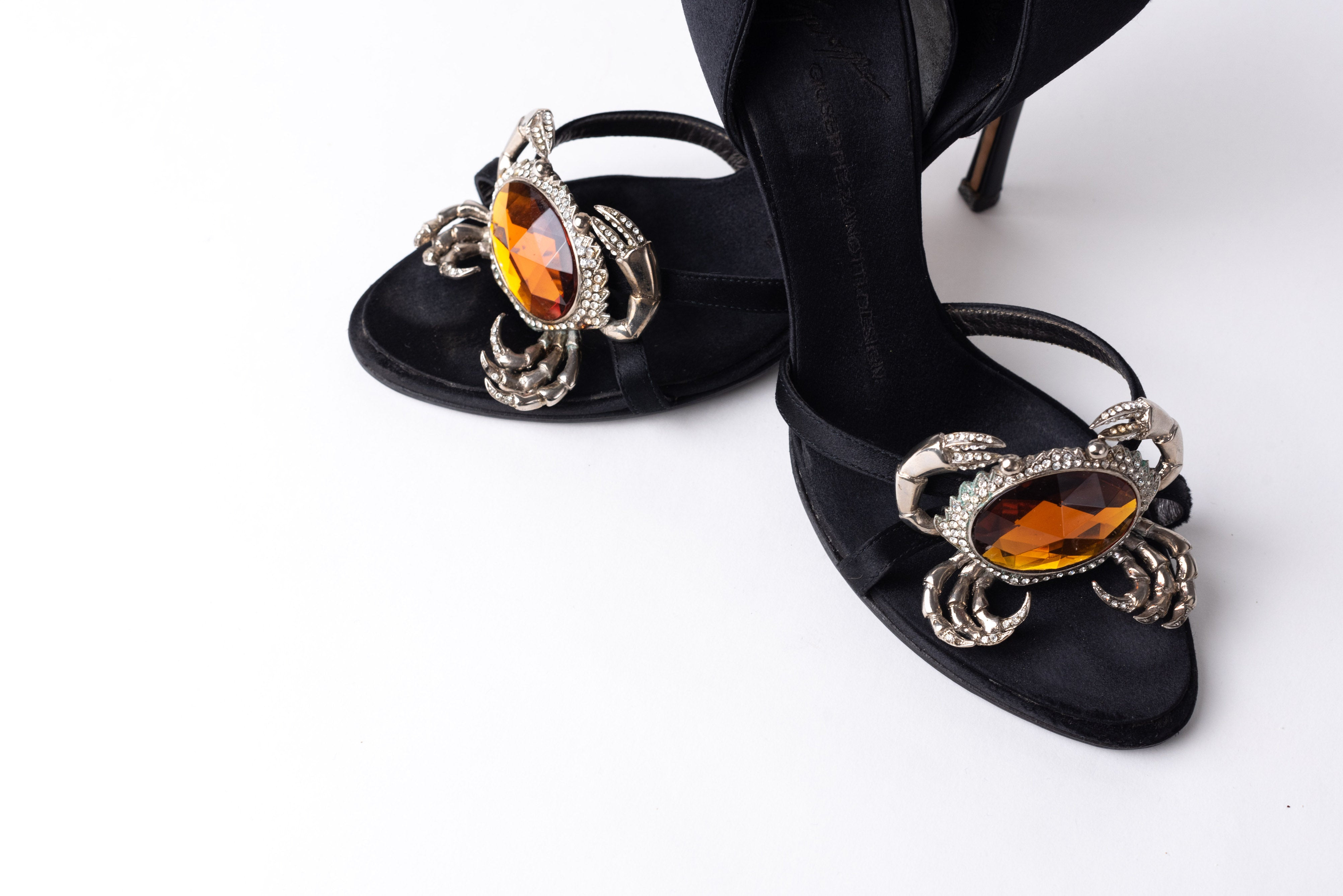 Giuseppe Zanotti <br> Jewelled crystal crab strappy satin heels