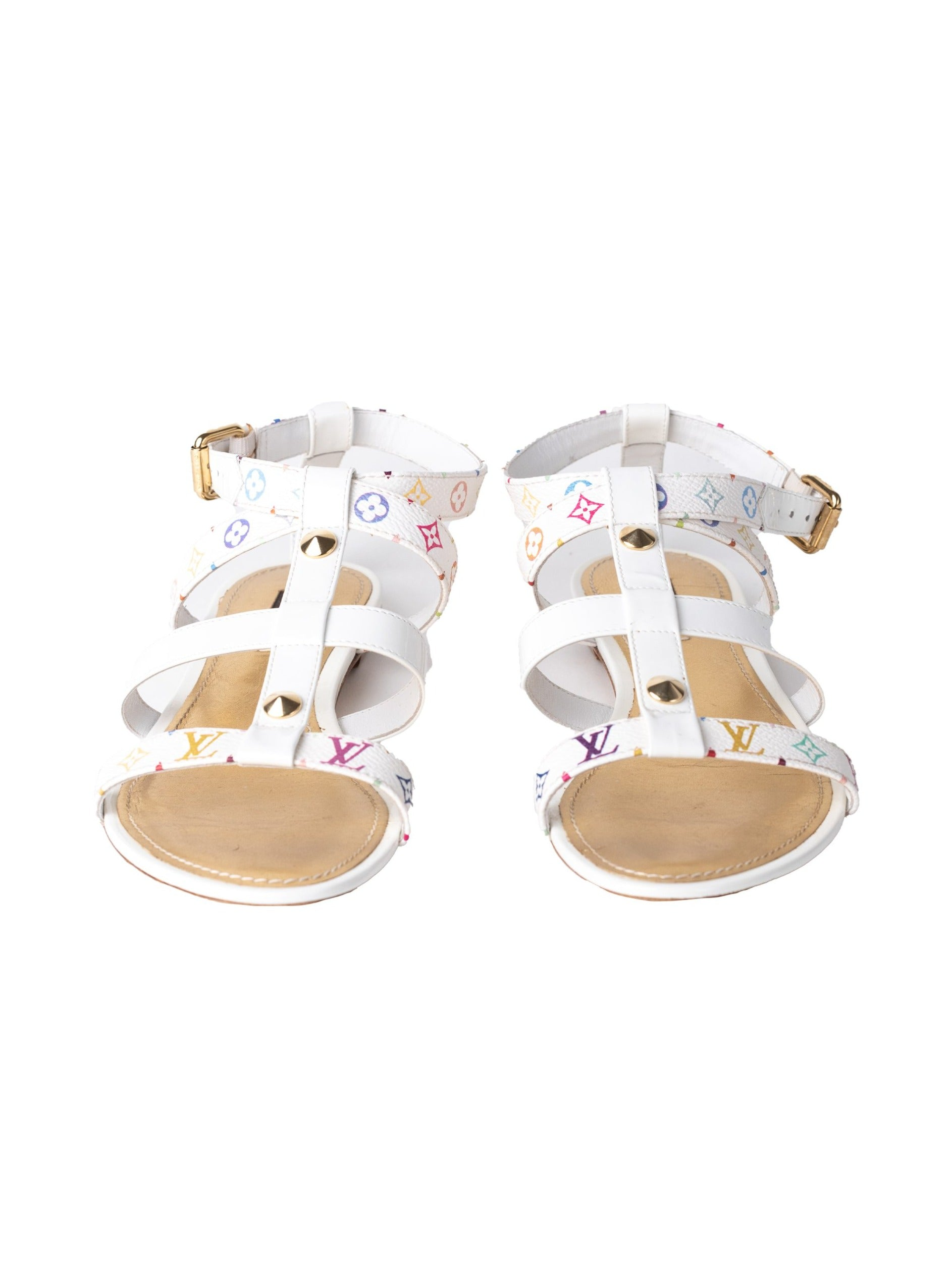 Louis Vuitton <br> 2003 Takashi Murakami monogram logo studded gladiator sandals