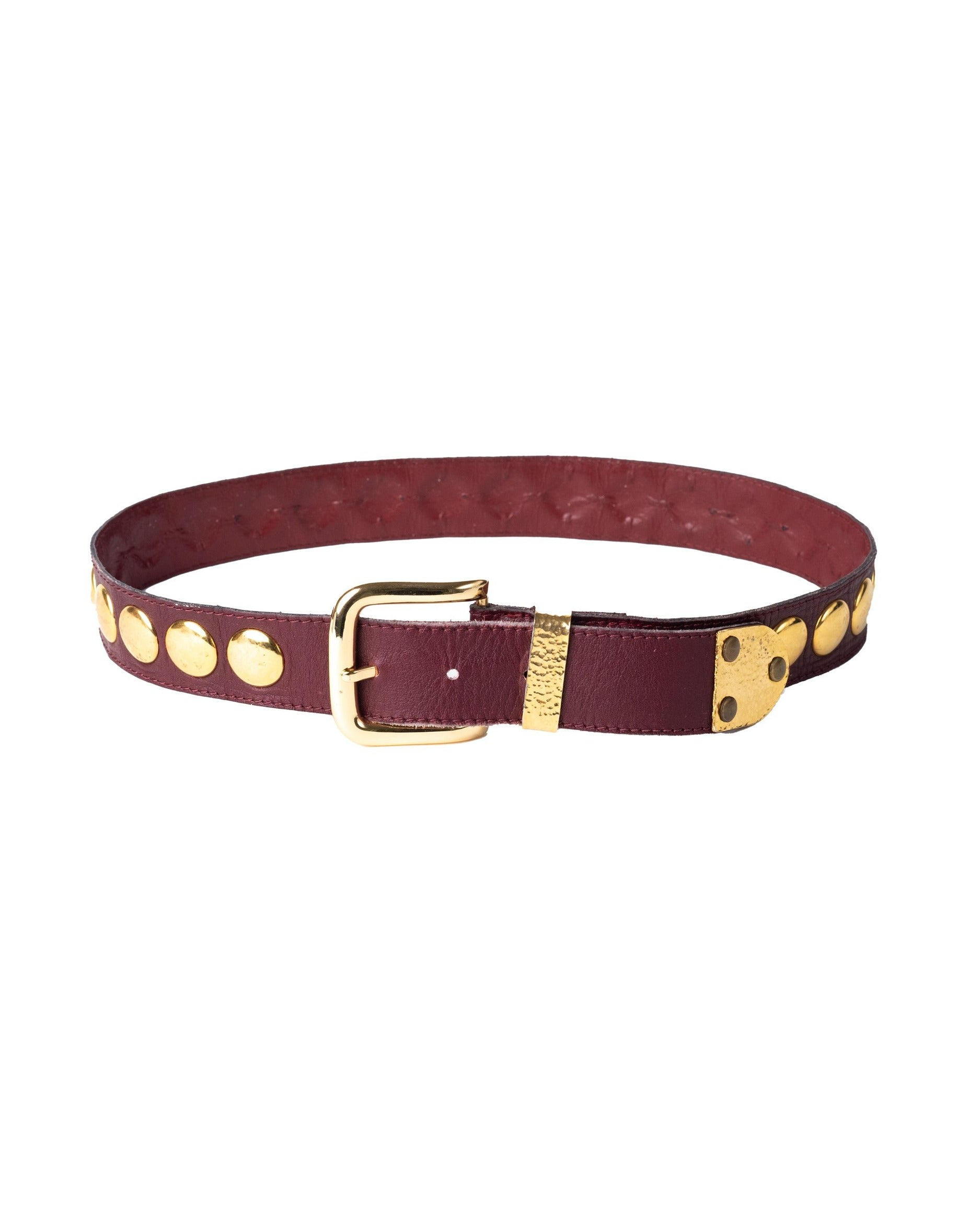 Yves Saint Laurent <br> 70's leather belt with oversized gold studs