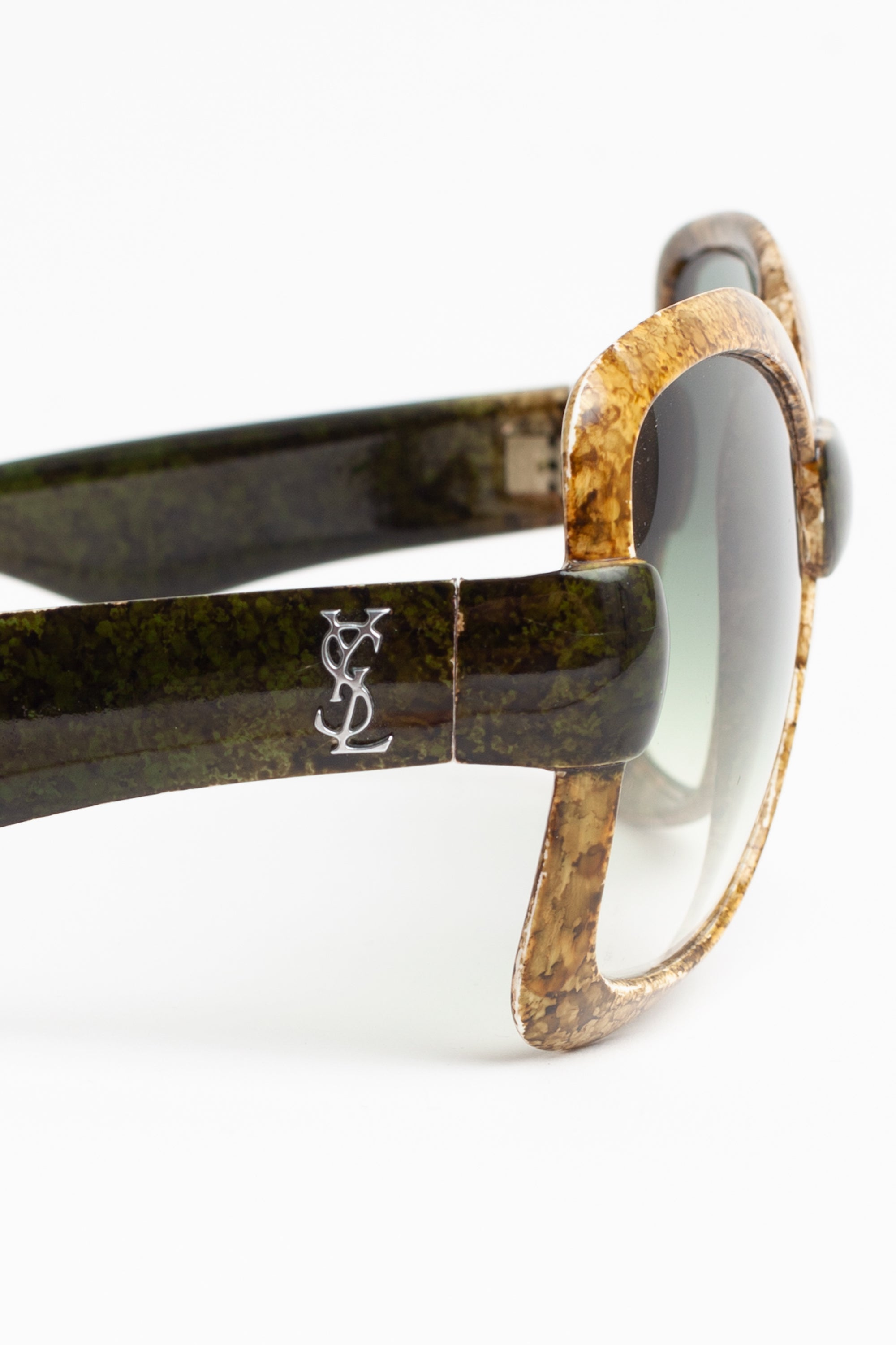 Yves Saint Laurent <br> Iconic 70's marbled green frame oversized sunglasses