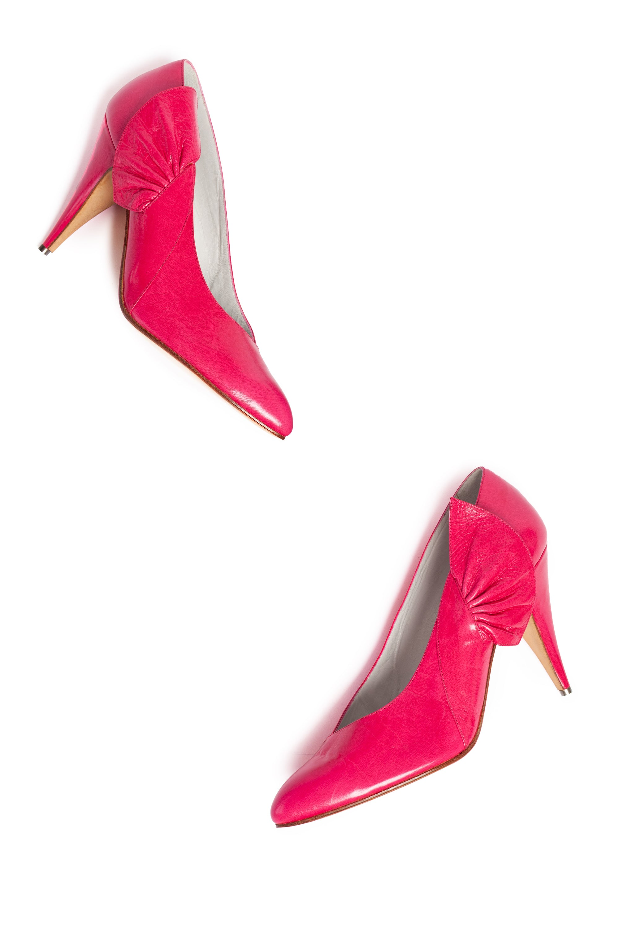 Maud Frizon <br> 1980's hot pink leather pumps with side frill