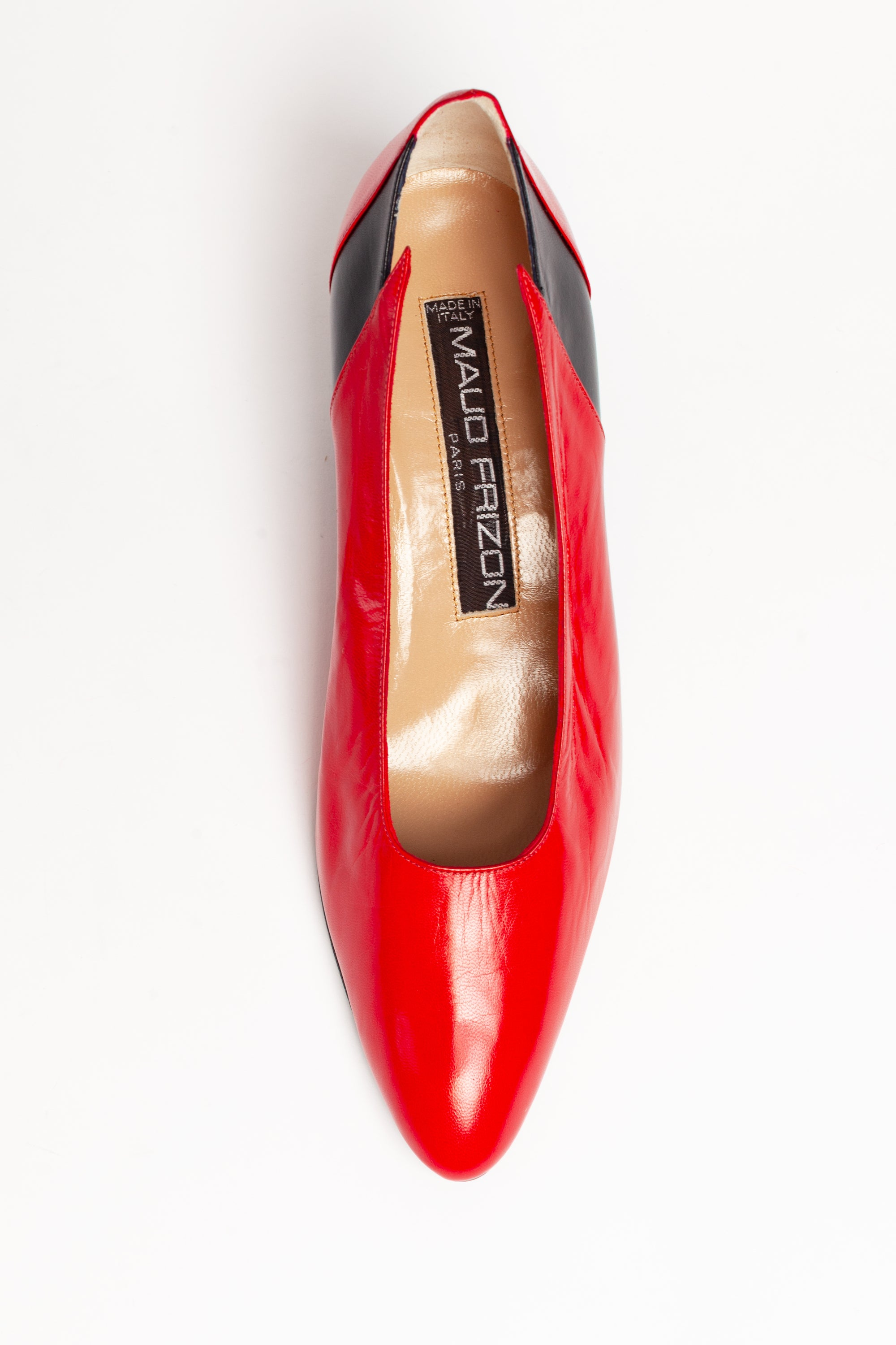 Maud Frizon <br> 1980's red & black leather cut away panel pumps
