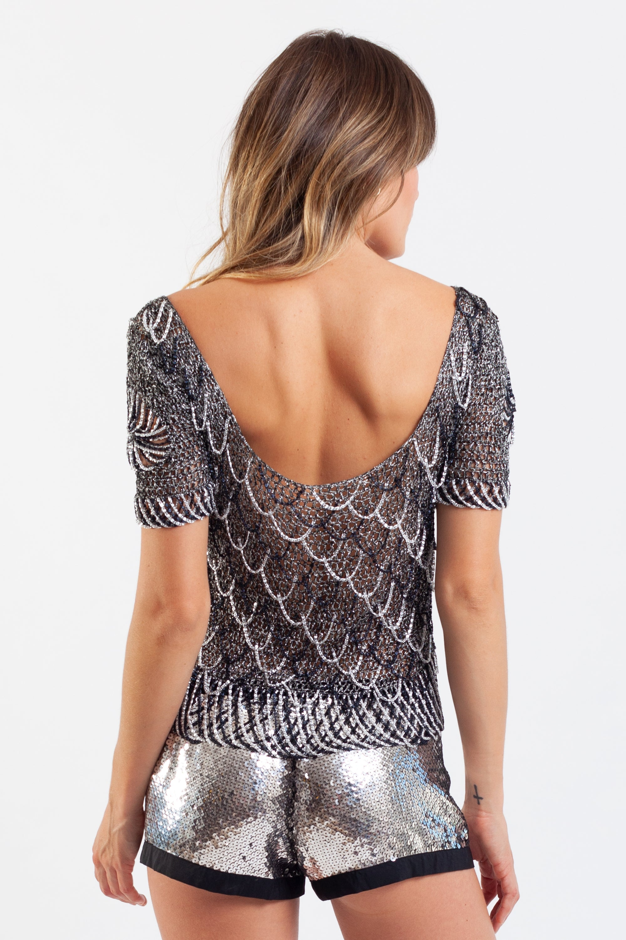 Azzaro <br> 1973 lurex mesh &metallic chain top