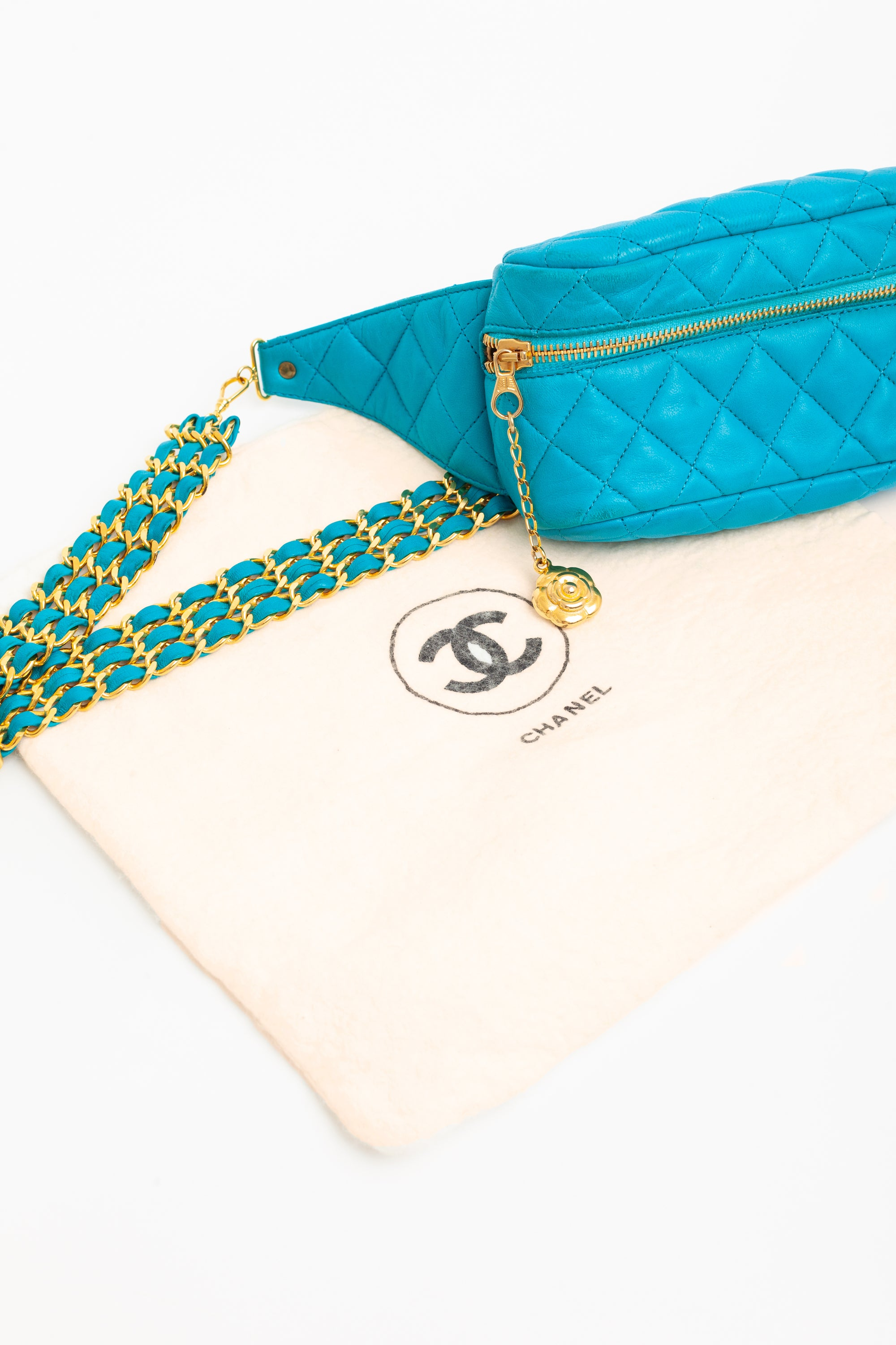 Chanel <br> S/S 1990 runway quilted leather & woven chain waist belt bag