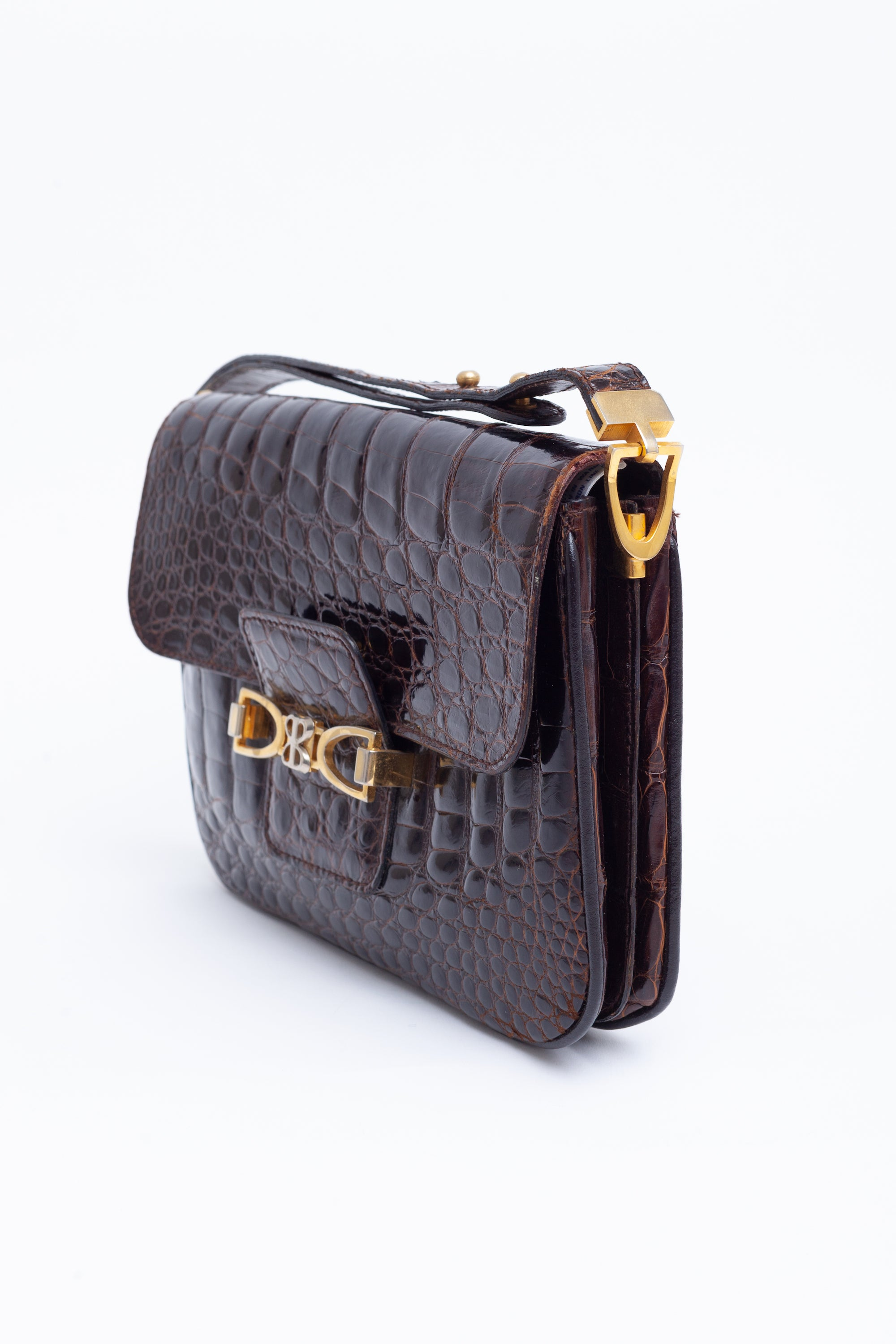 Balenciaga <br> 1970's De Luxe logo crocodile effect leather shoulder bag