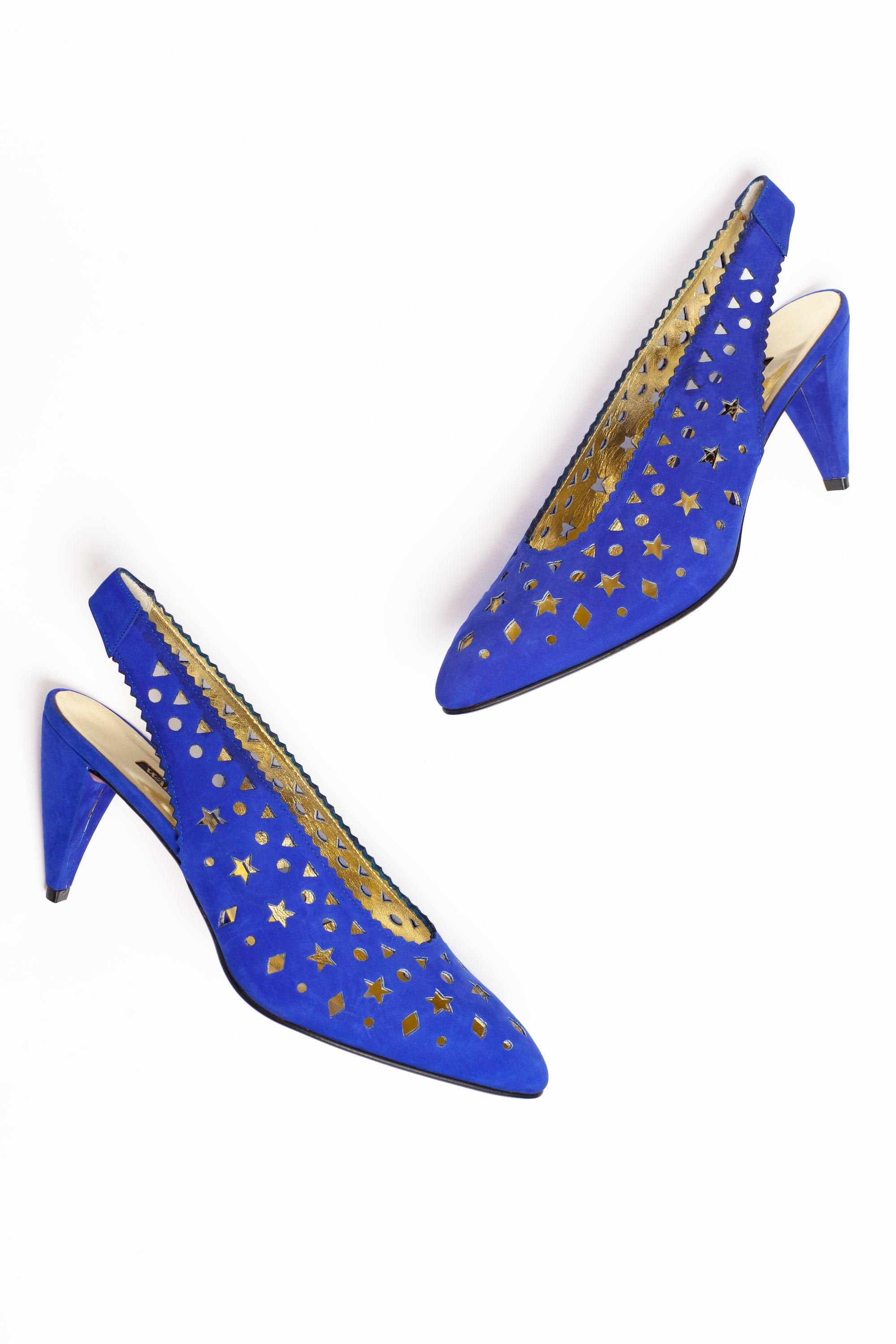 Walter Steiger <br> 1980's suede cut out slingback pump