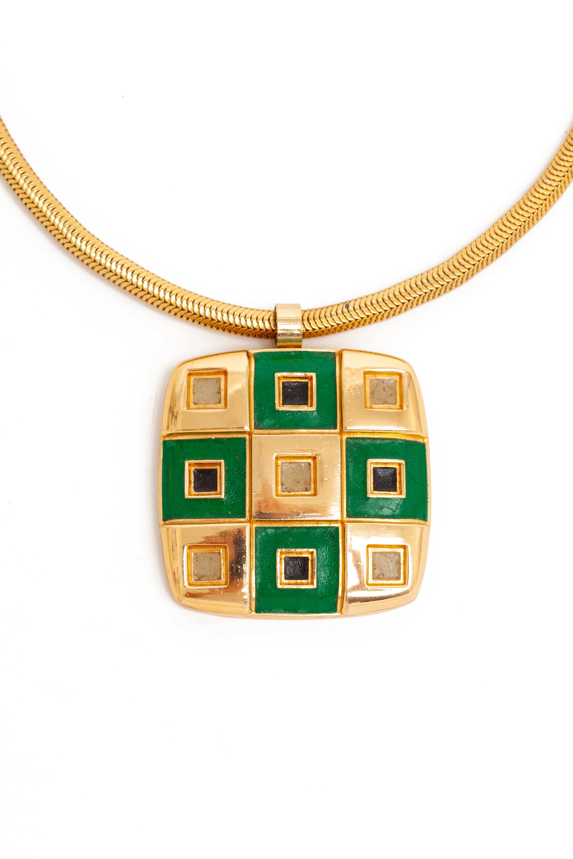 Lanvin <br> 1970's oversized gold & enamel checkerboard pendant necklace