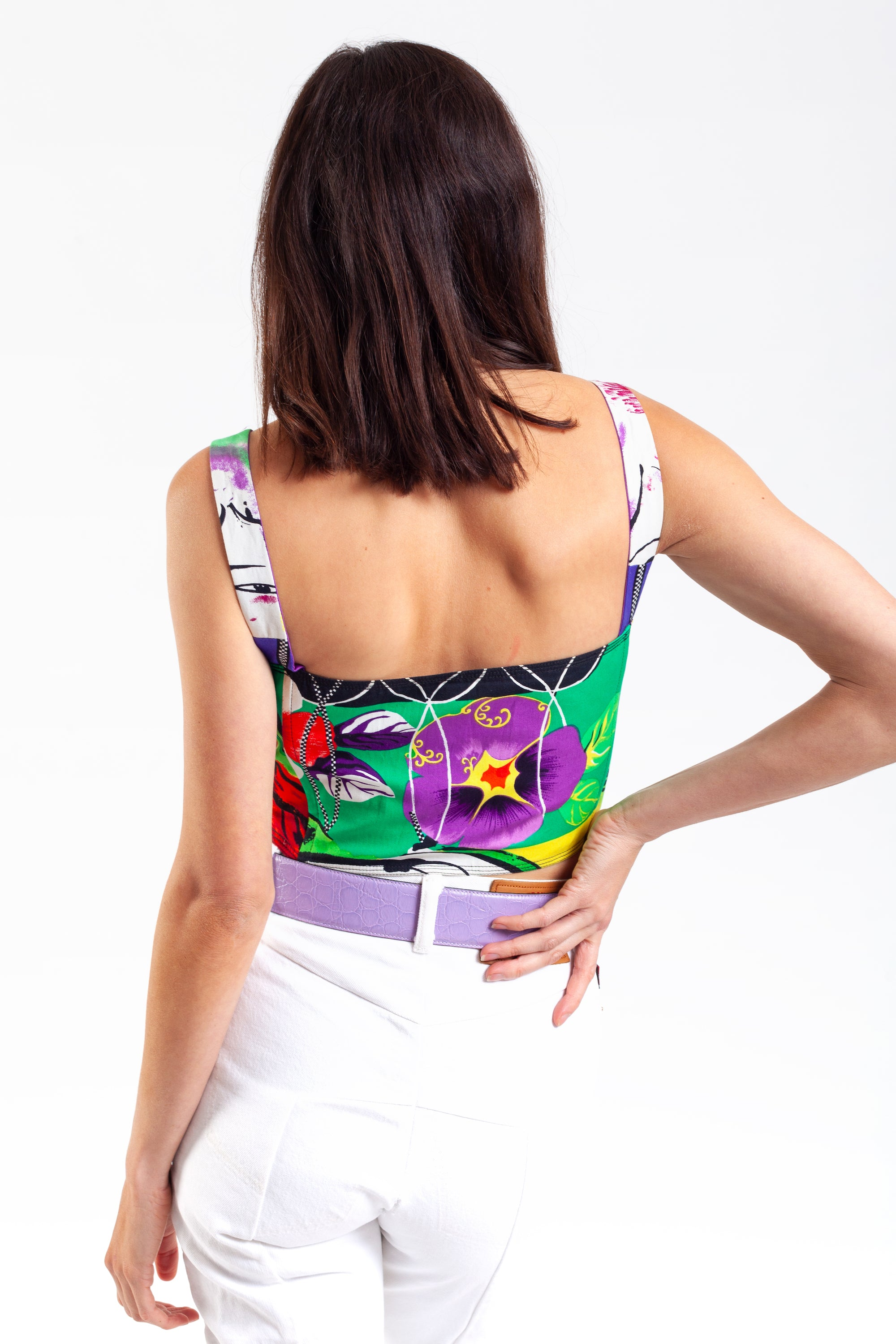 Versace <br> 90's Jeans Couture print bustier