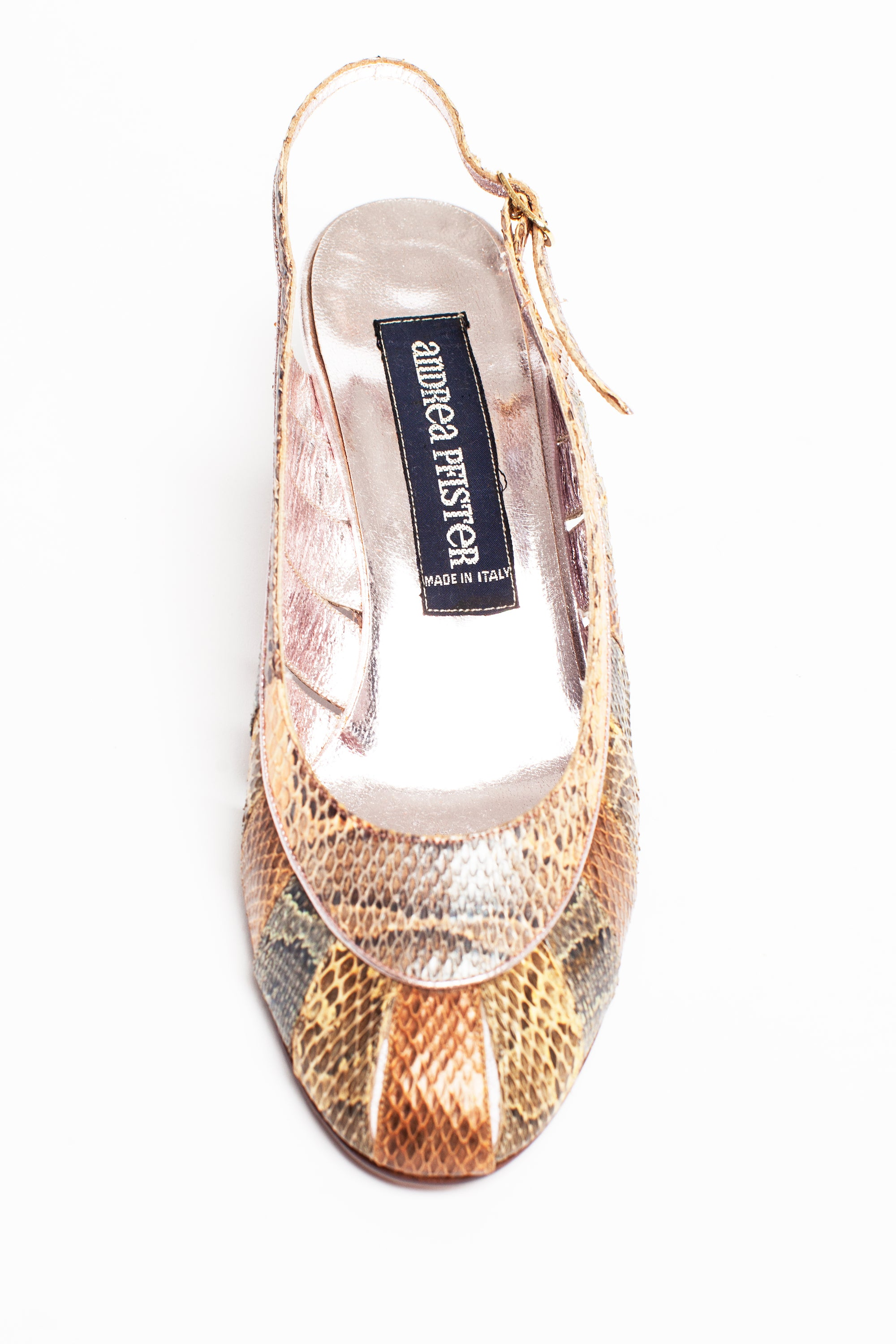 Andrea Pfister <br> 1980's pastel snakeskin cut-out wedge sandals