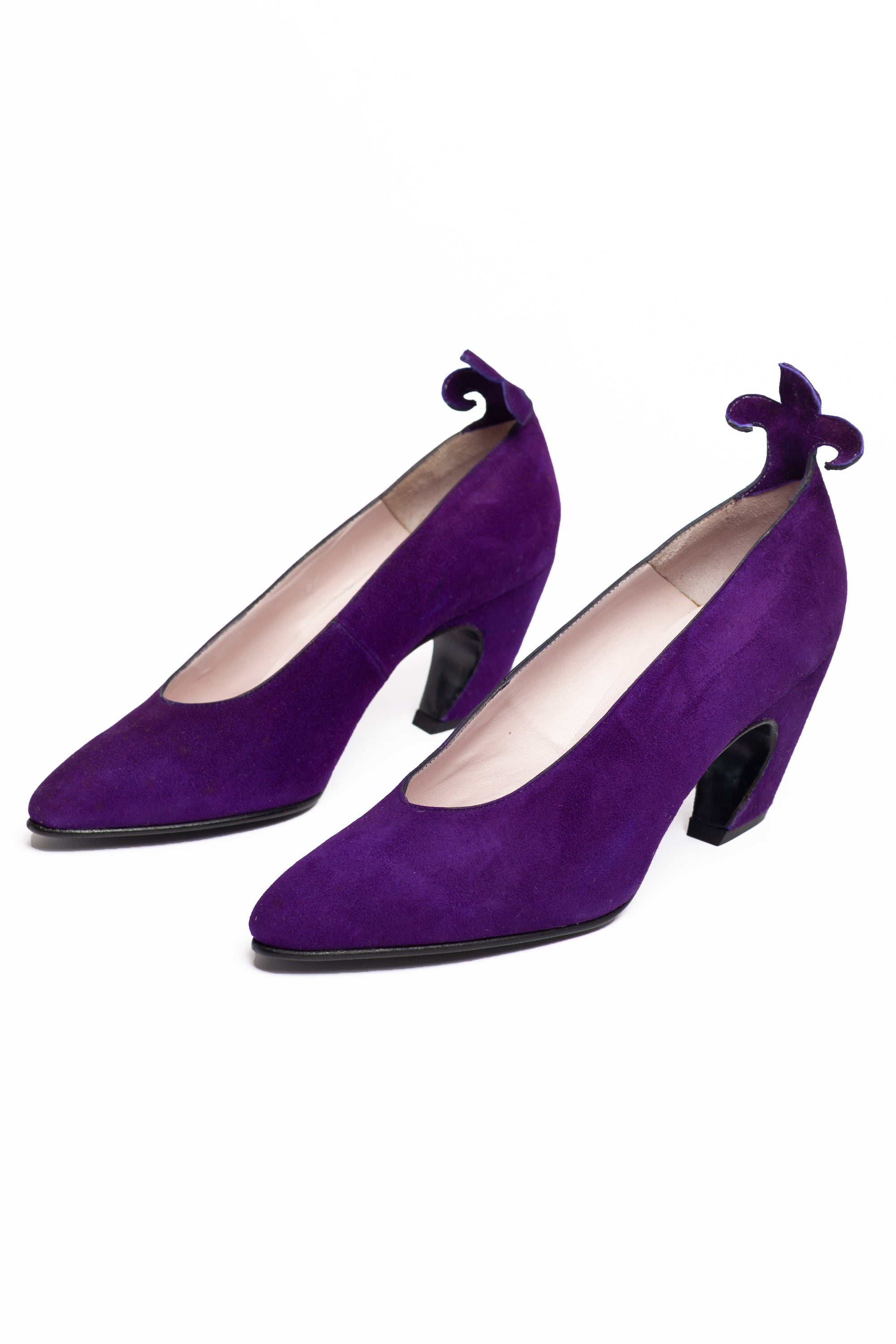 Maud Frizon <br> 1980's Miss Maud curved heel suede pumps