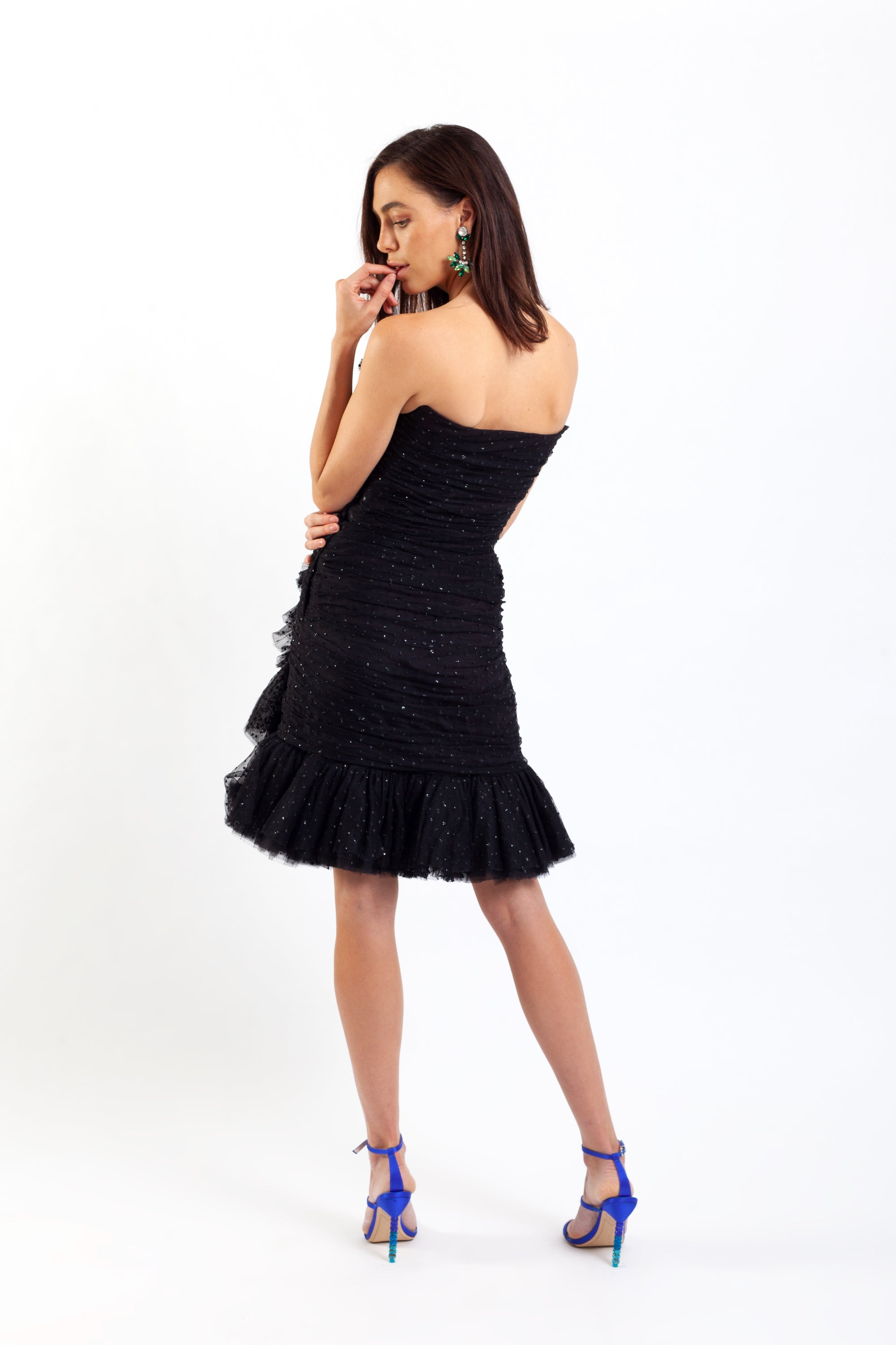 Lorcan Mullany <br> 80's strapless glitter tulle party dress