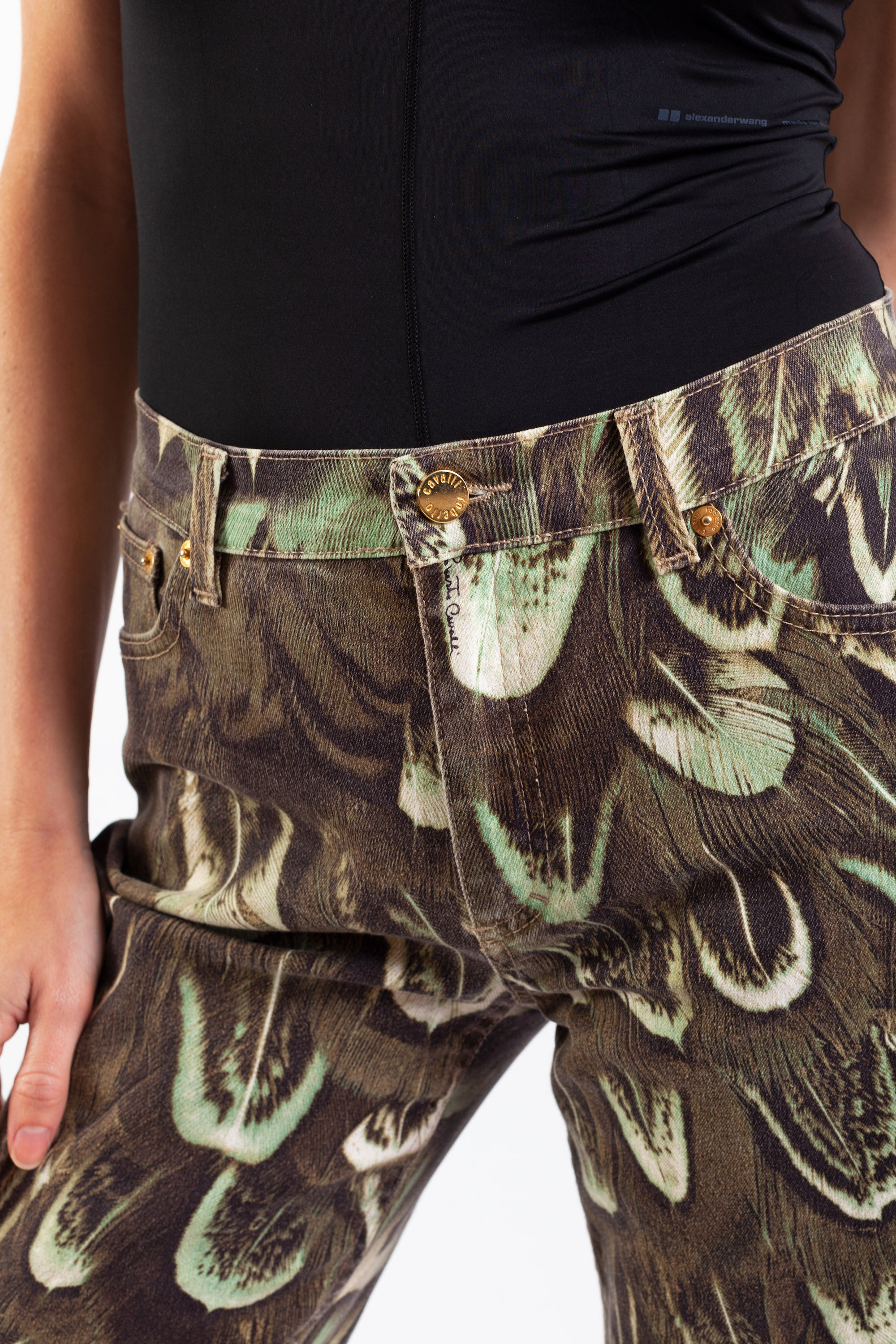 Roberto Cavalli <br> Mainline feather print jeans