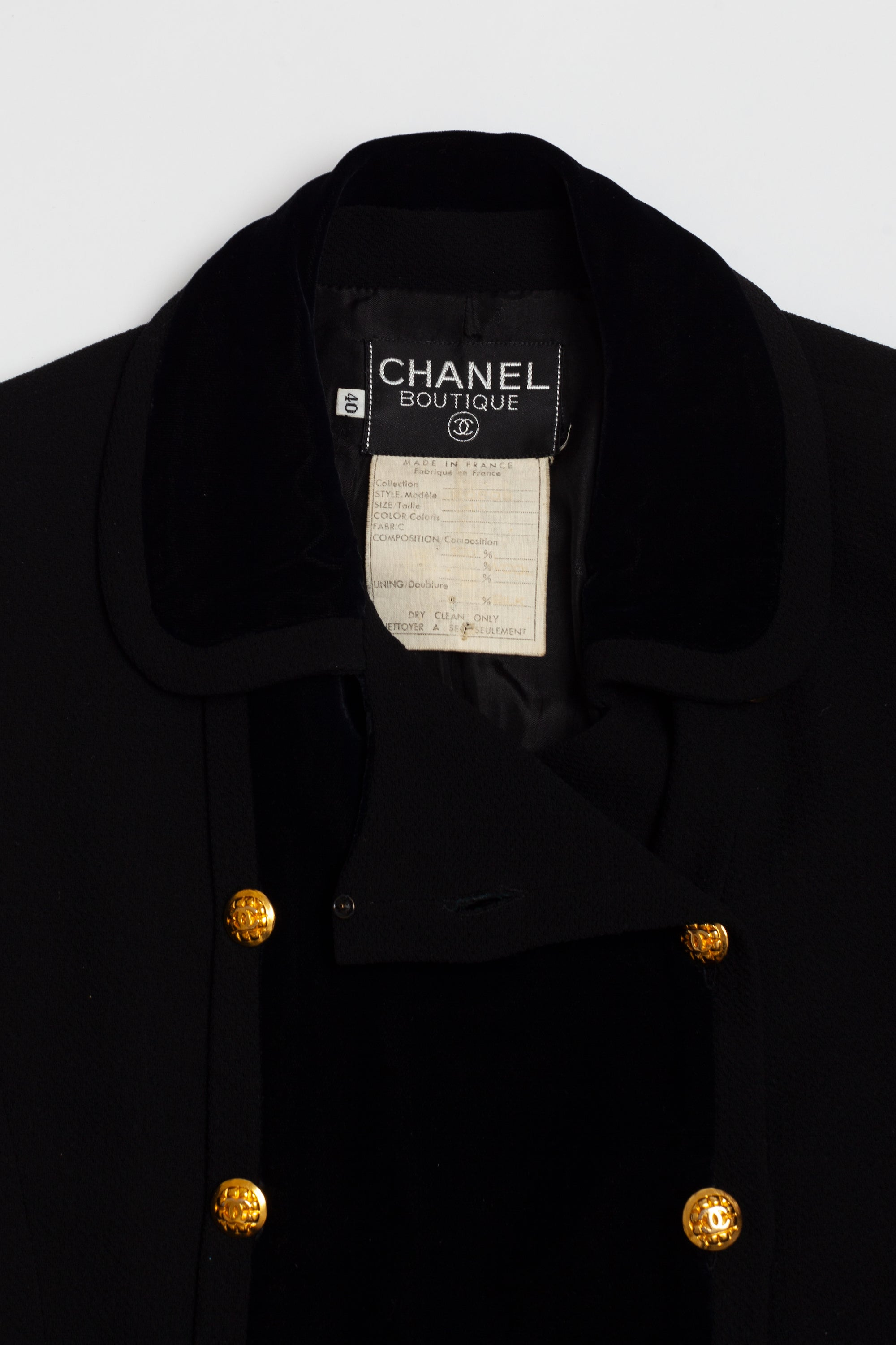 Chanel <br> F/W 1989 runway wool & velvet logo button suit