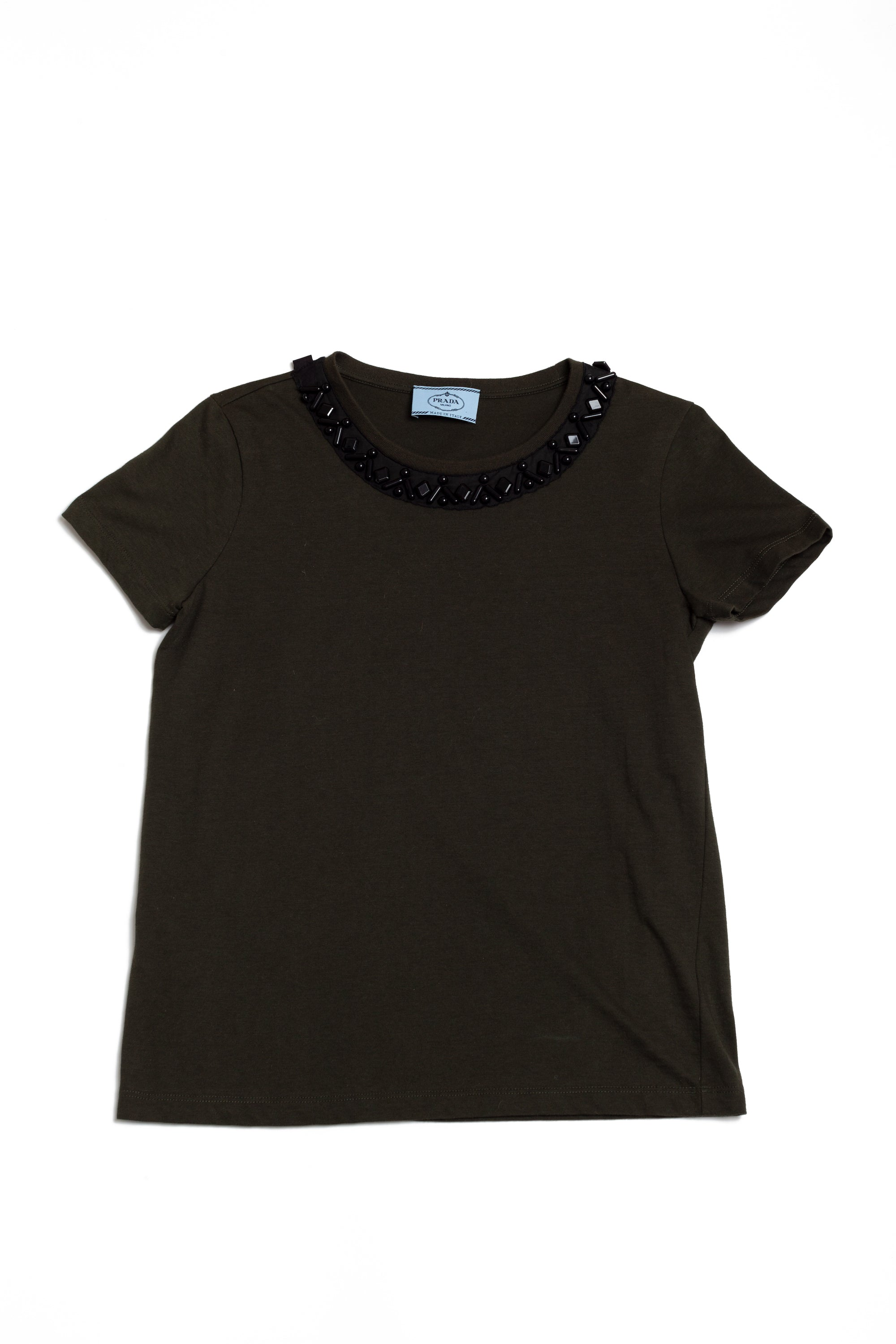 Prada <br> Beaded neckline stretch cotton t-shirt