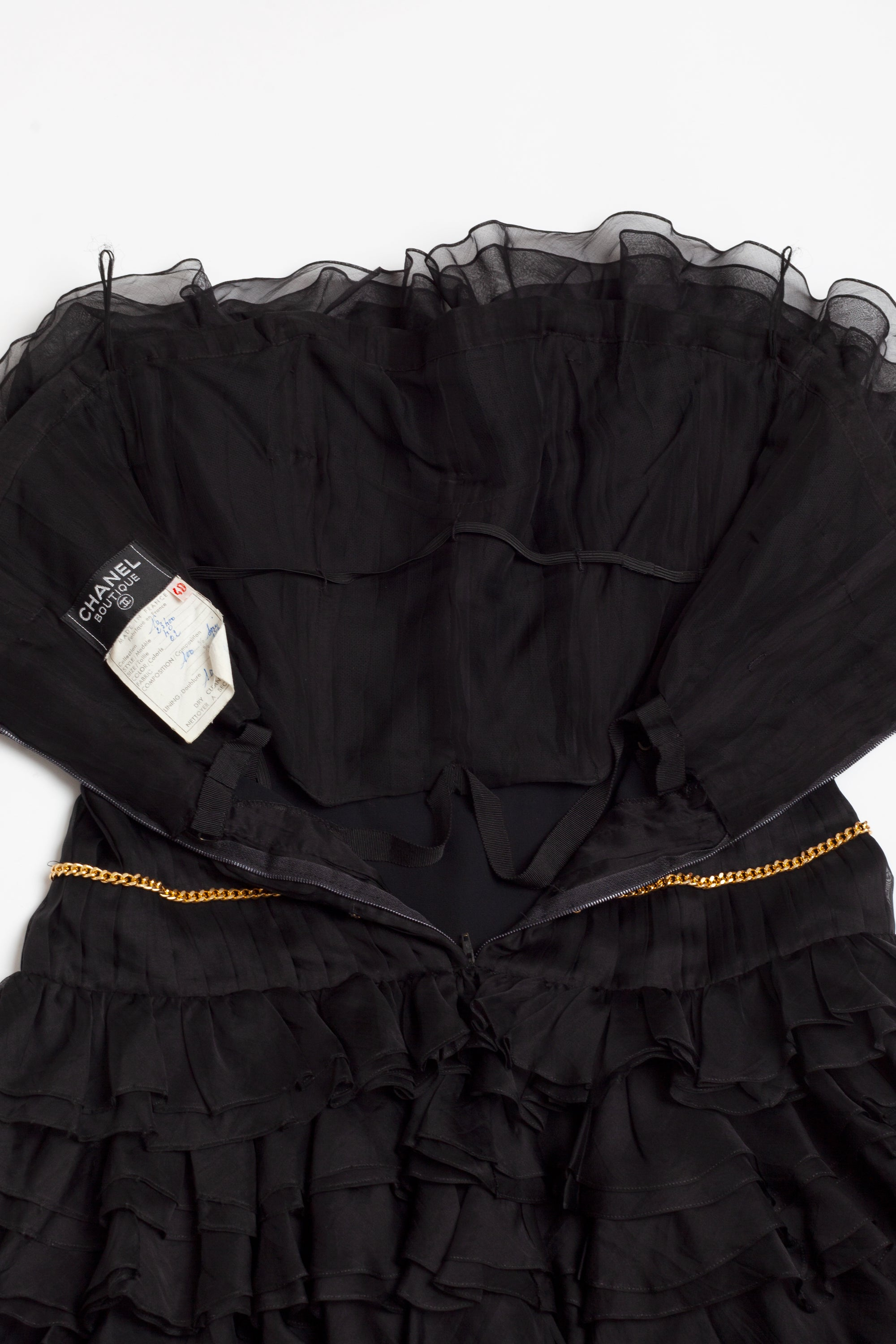 Chanel <br> S/S 1988 silk cocktail dress with pleats, ruffles & gold chains