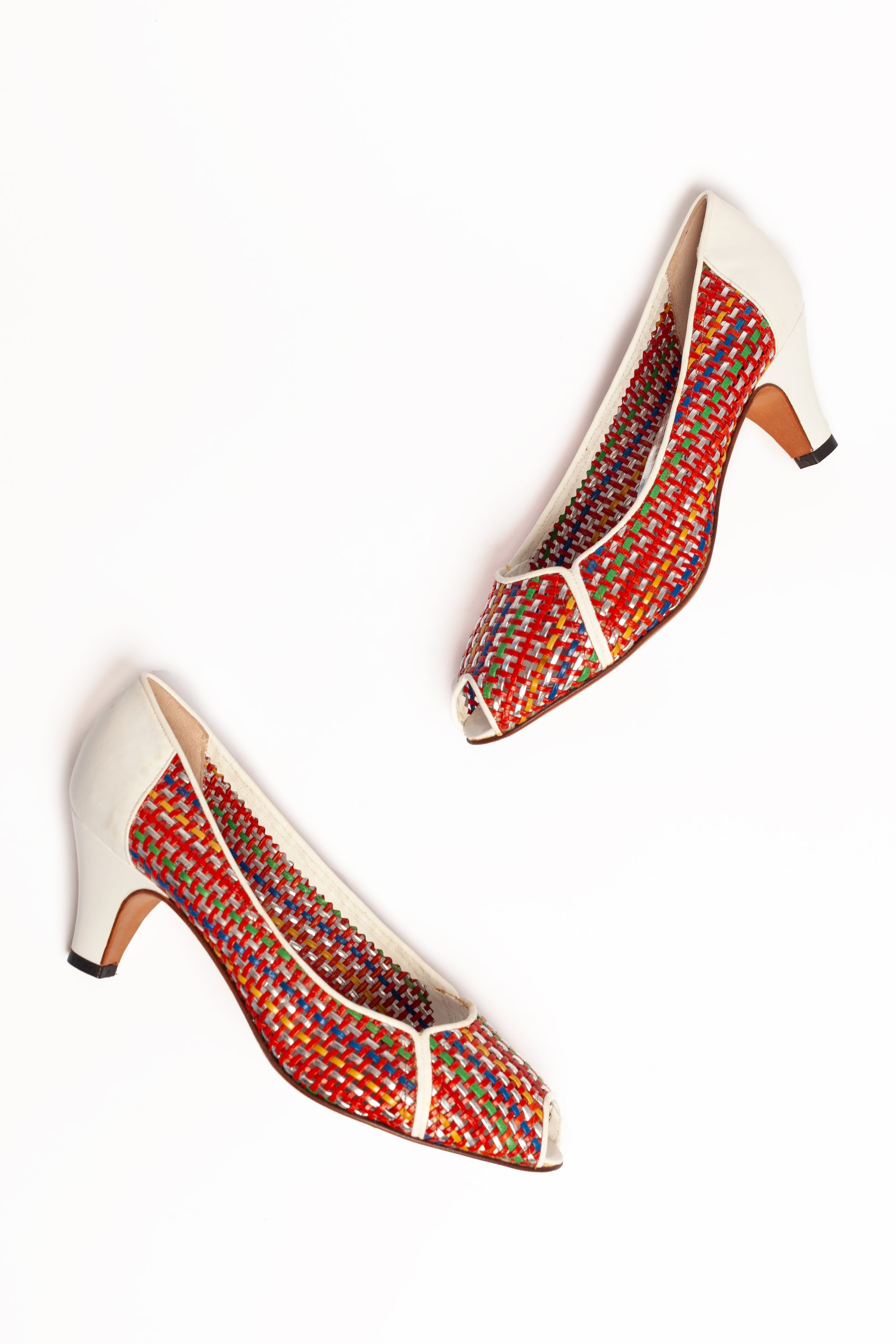Sergio Rossi <br> 1980's woven leather peep toe sandals
