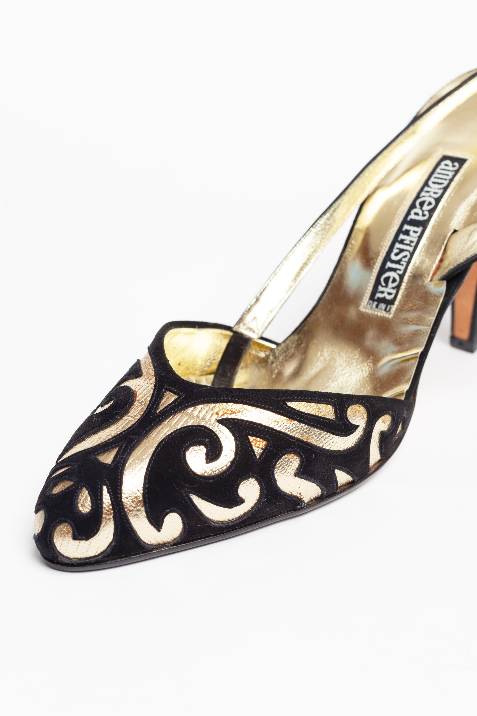 Andrea Pfister <br> 1980's suede & metallic leather slingback mules