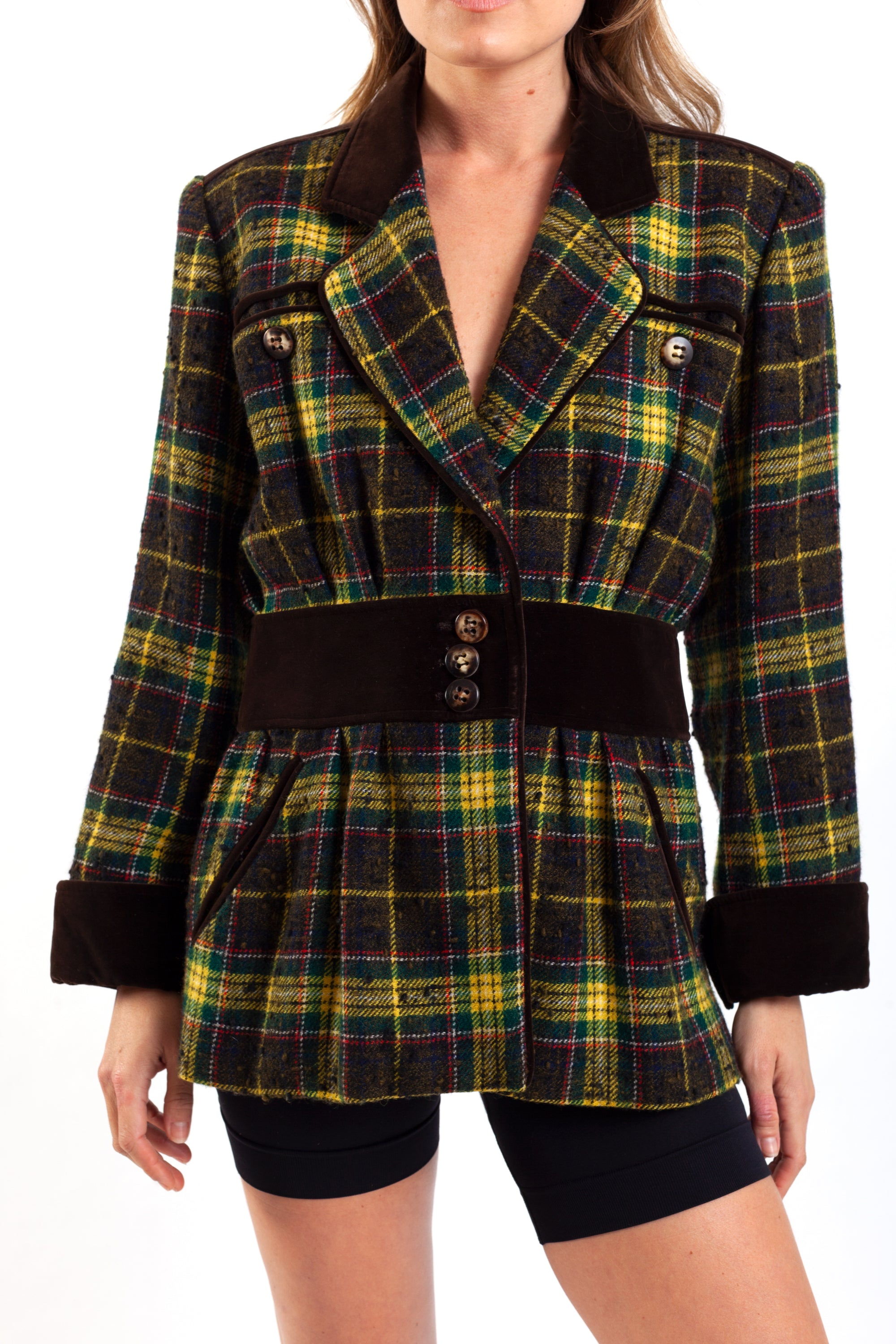 Yves Saint Laurent <br> 1970's Rive Gauche plaid riding blazer