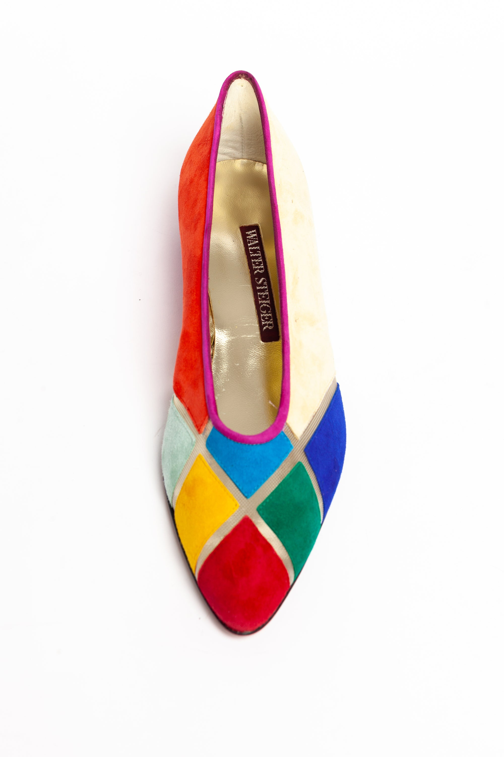Walter Steiger <br> 1980's patchwork suede & mesh wedge flats