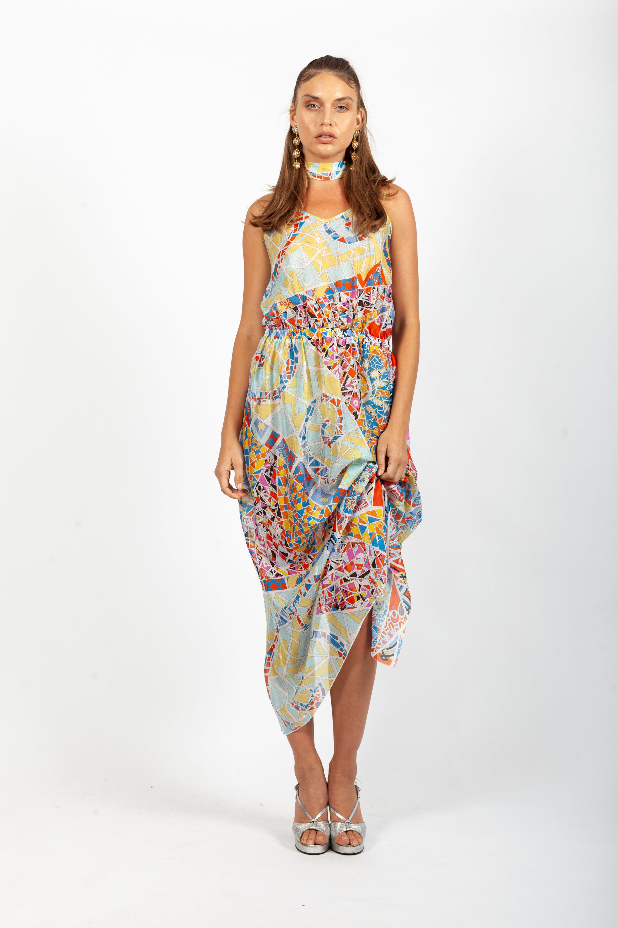 Emilio Pucci <br> 90's/00's reversible sheer silk print maxi dress