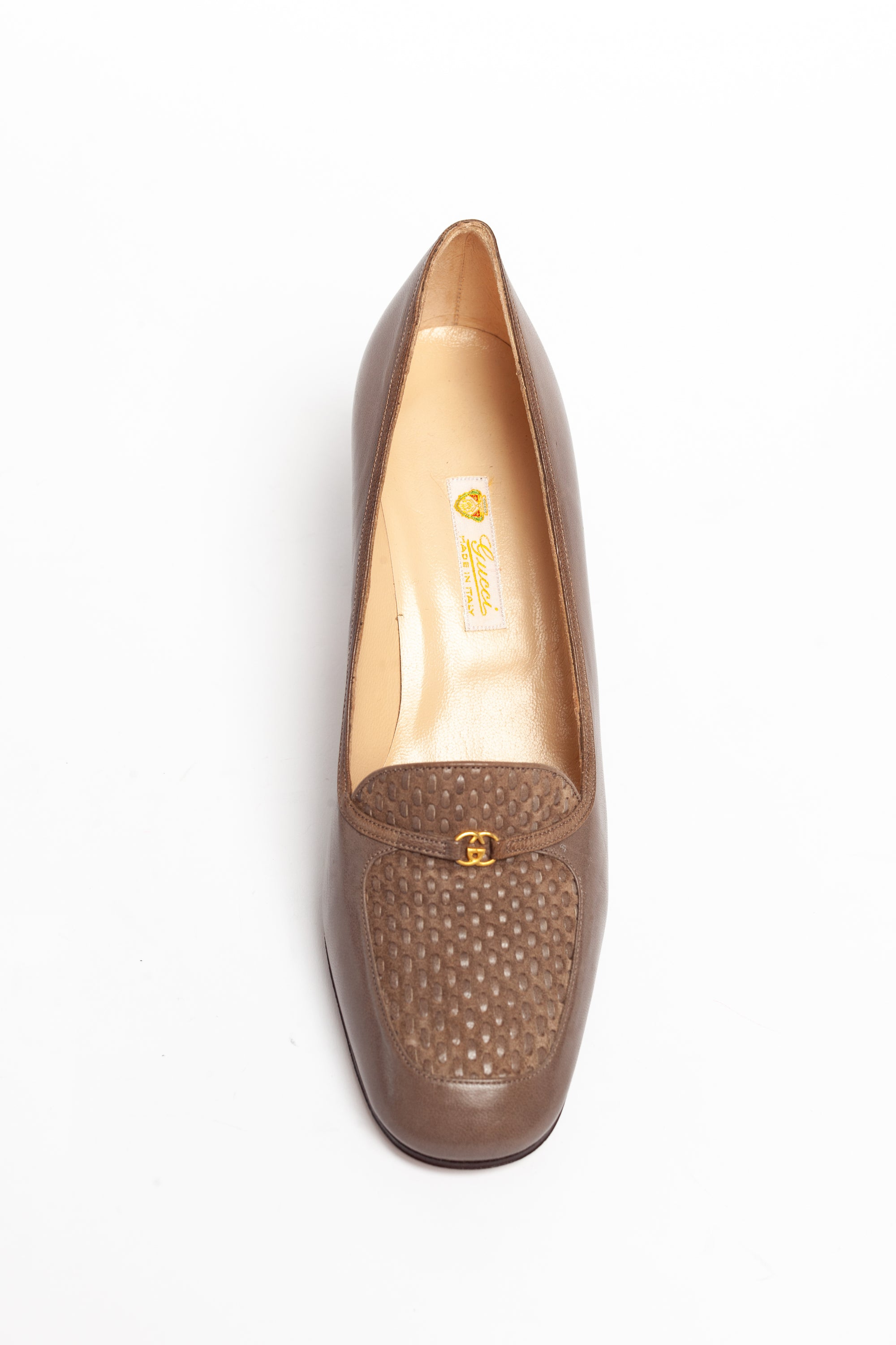 Gucci <br> 1970's logo high heeled loafers