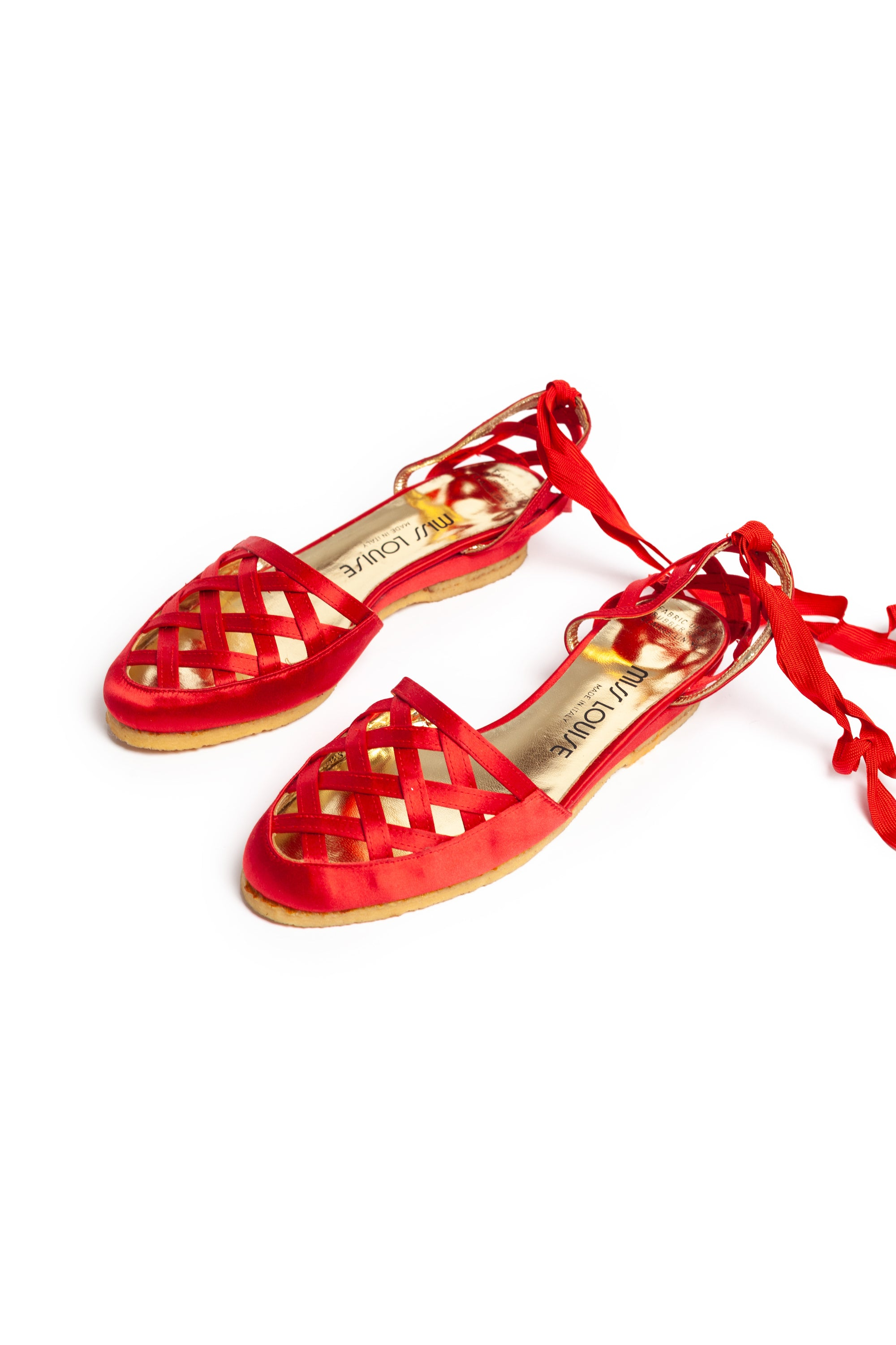 Miss Louise <br> 1980's red satin espadrilles with ankle ties