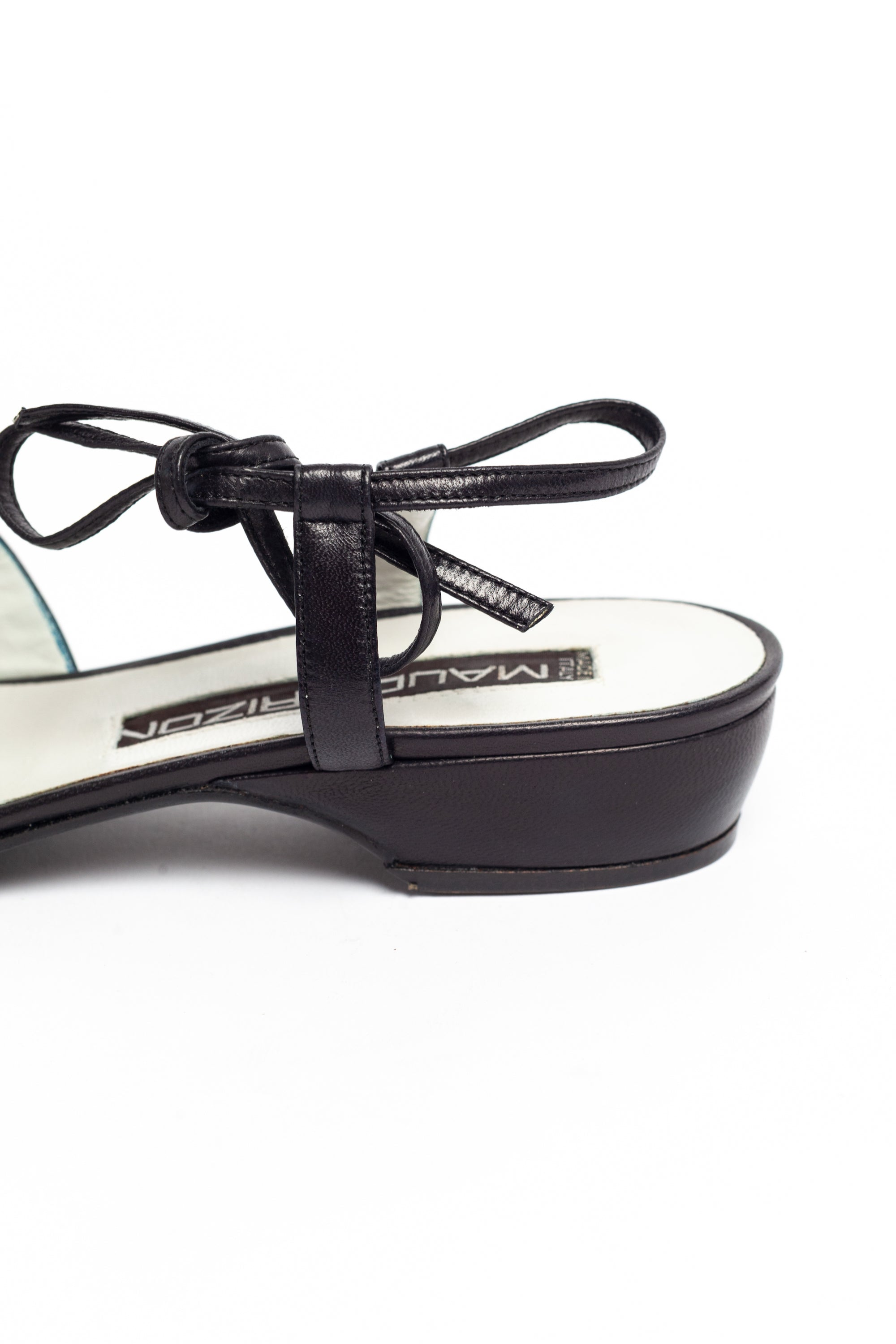 Maud Frizon <br> 1980's jewelled leather flat sandals with ankle ties