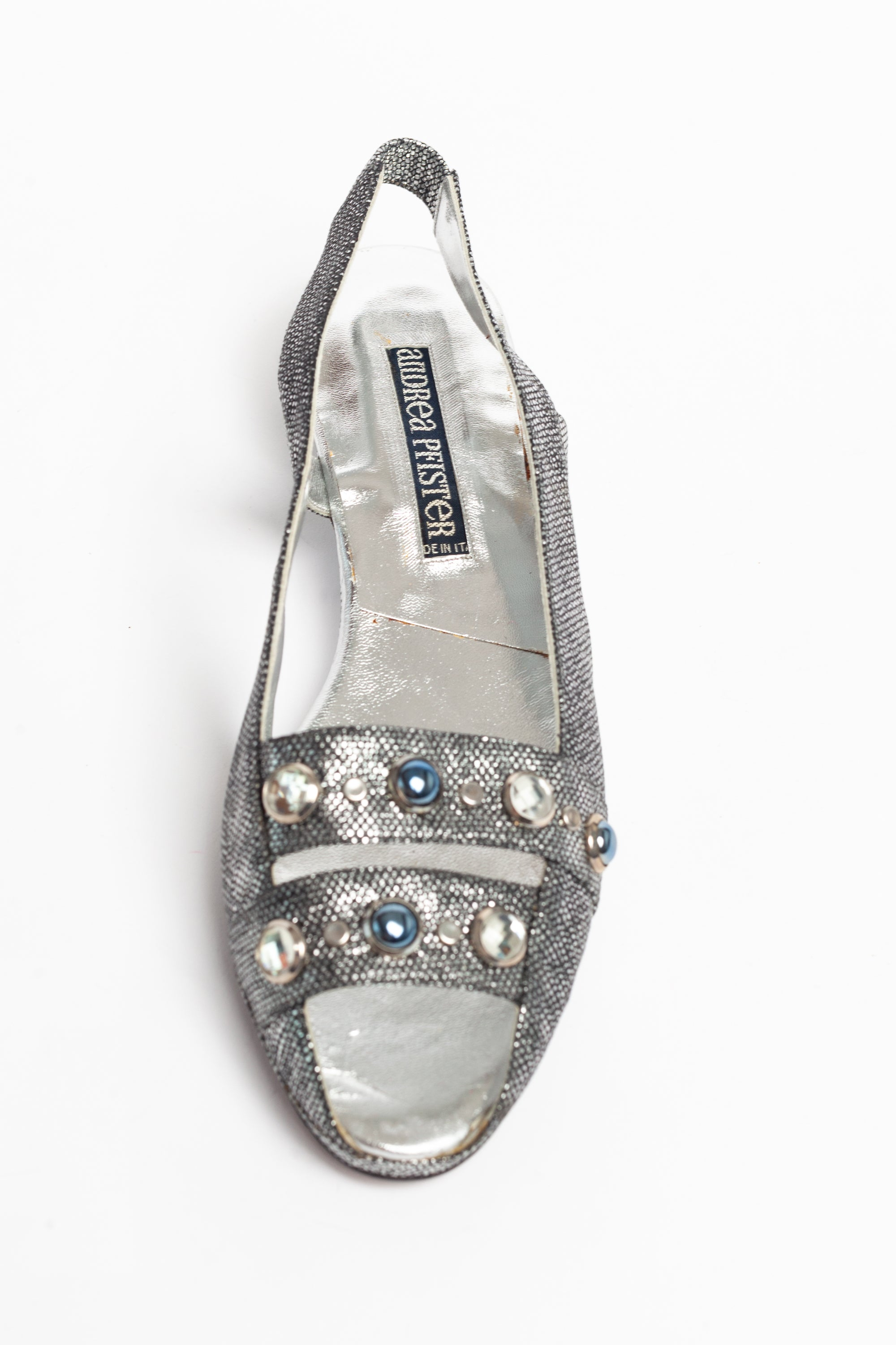 Andrea Pfister <br> 1980's metallic snakeskin jewelled wedge sandals