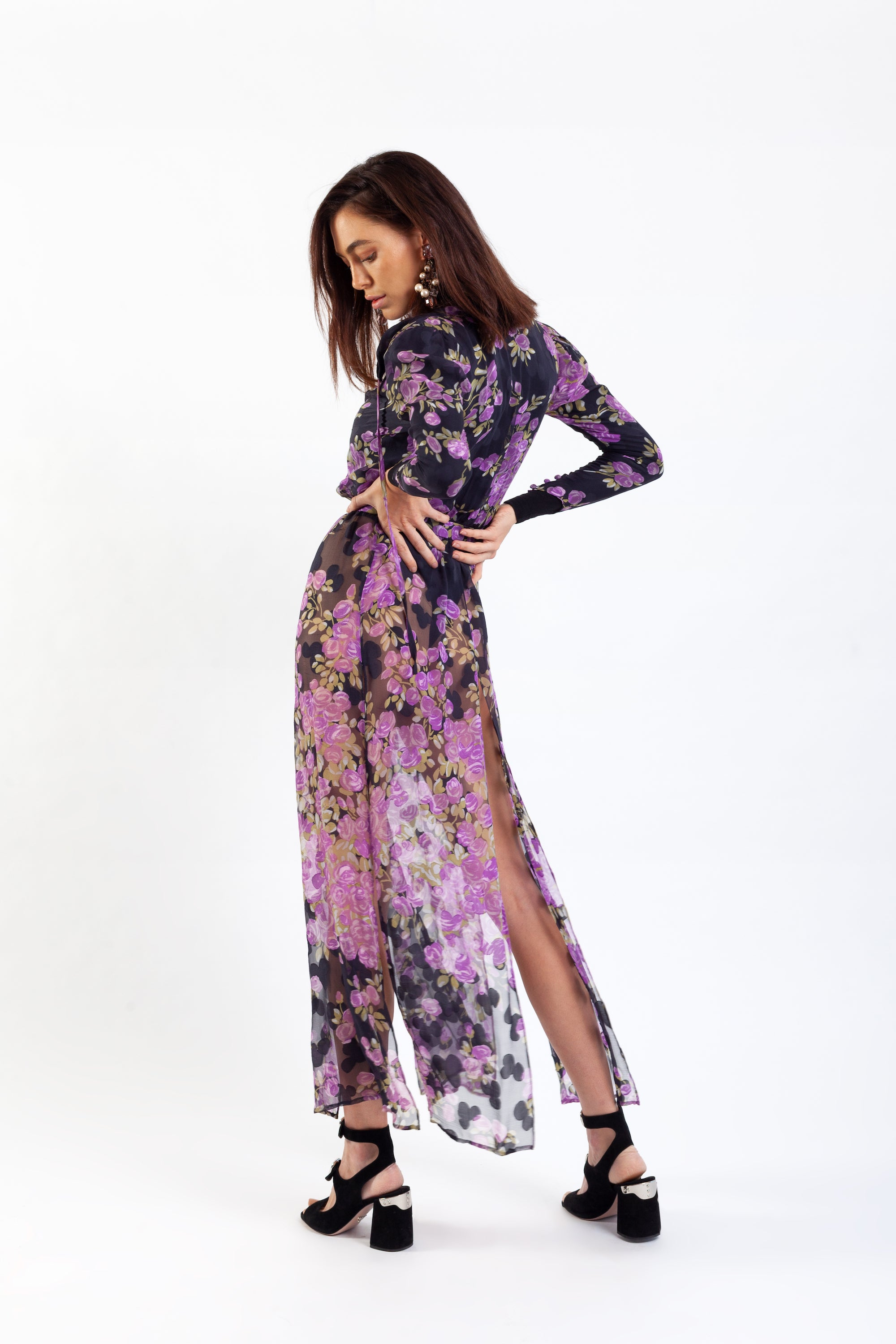 Yves Saint Laurent <br> Haute Couture 1970's floral print silk three piece ensemble