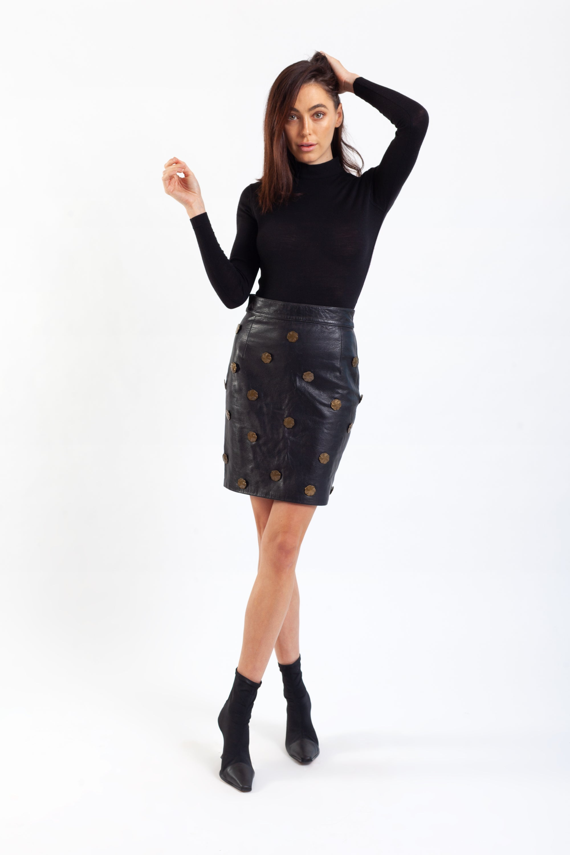 Moschino <br> F/W 1988 leather skirt with bronze medallions