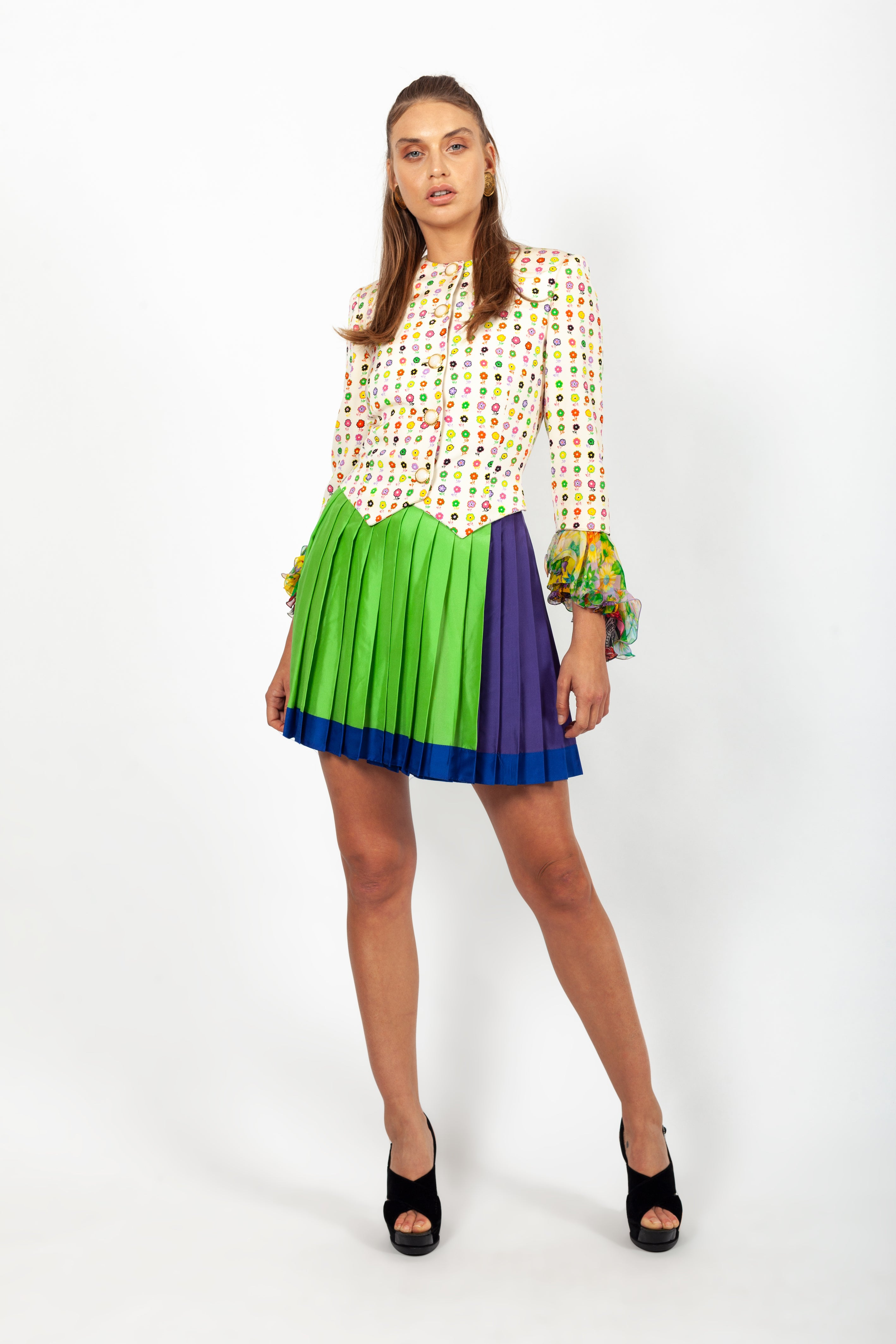 Versace <br> Versus by Gianni Versace pleated silk colourblock skirt