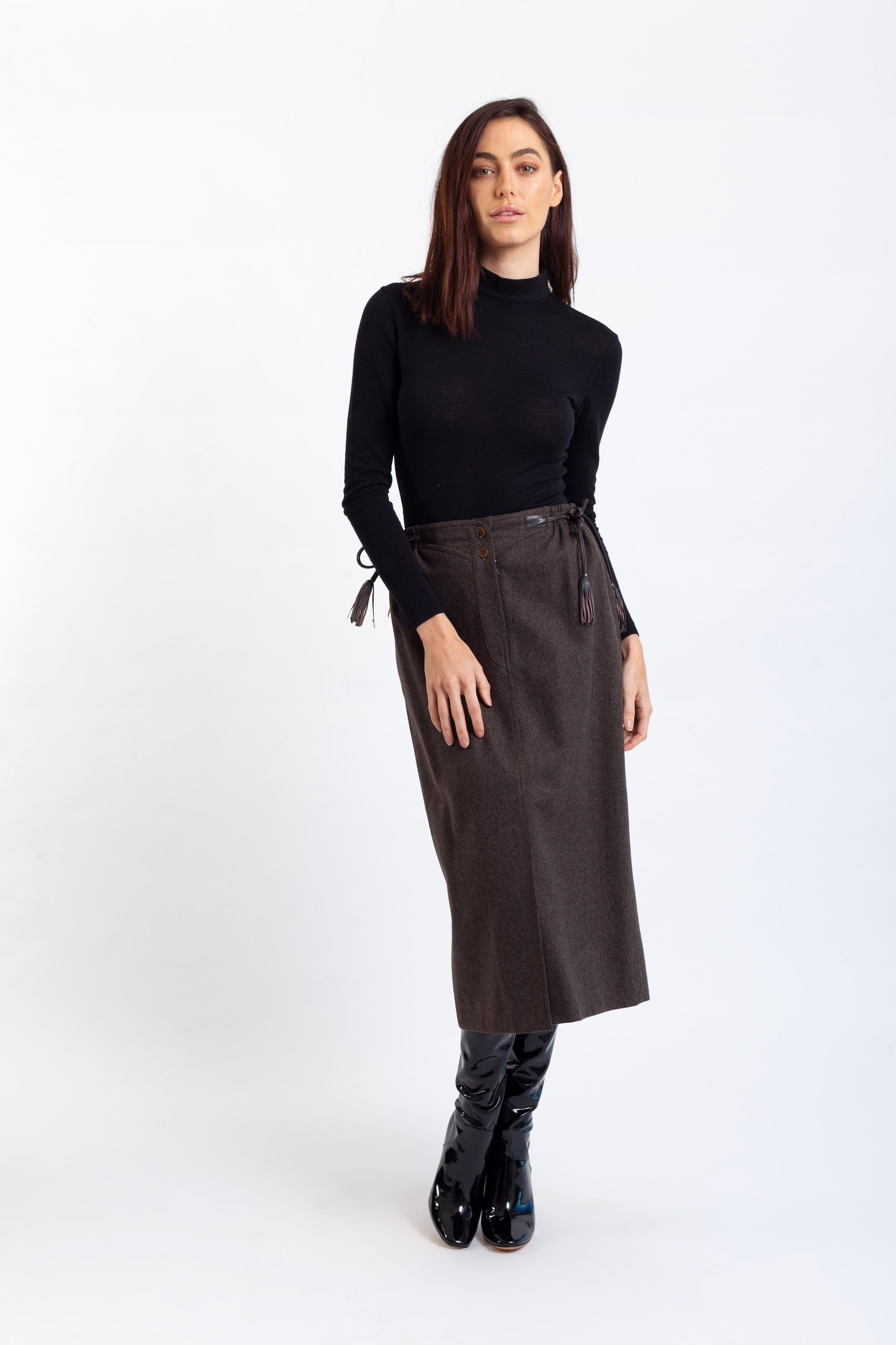 Gucci <br> 70's wool skirt with leather logo tassels