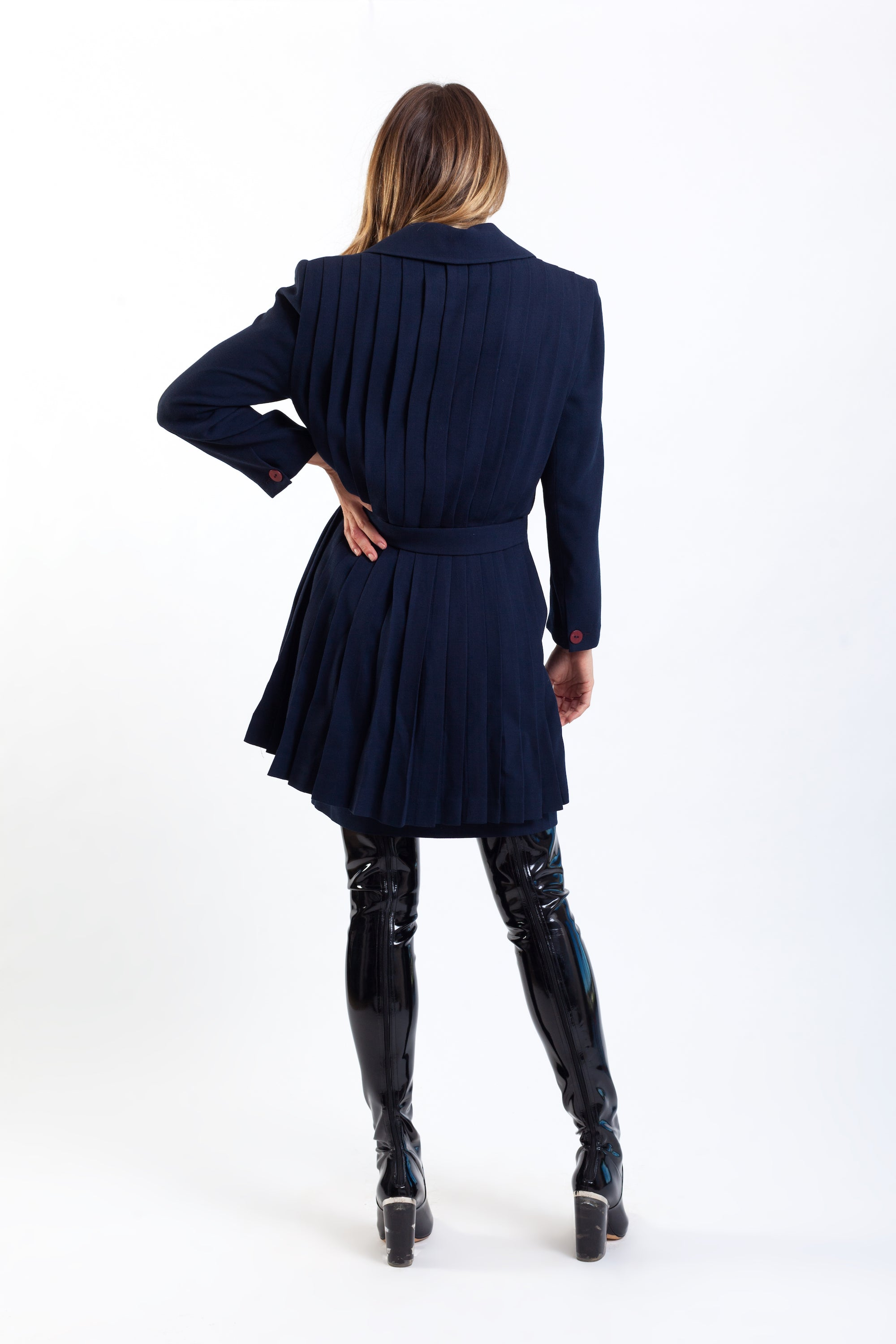 Chloe by Karl Lagerfeld <br> 70's/80's wool crepe pleated back skirt suit