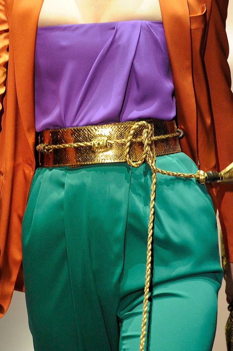 Gucci <br> S/S 2011 runway gold python obi wrap style belt